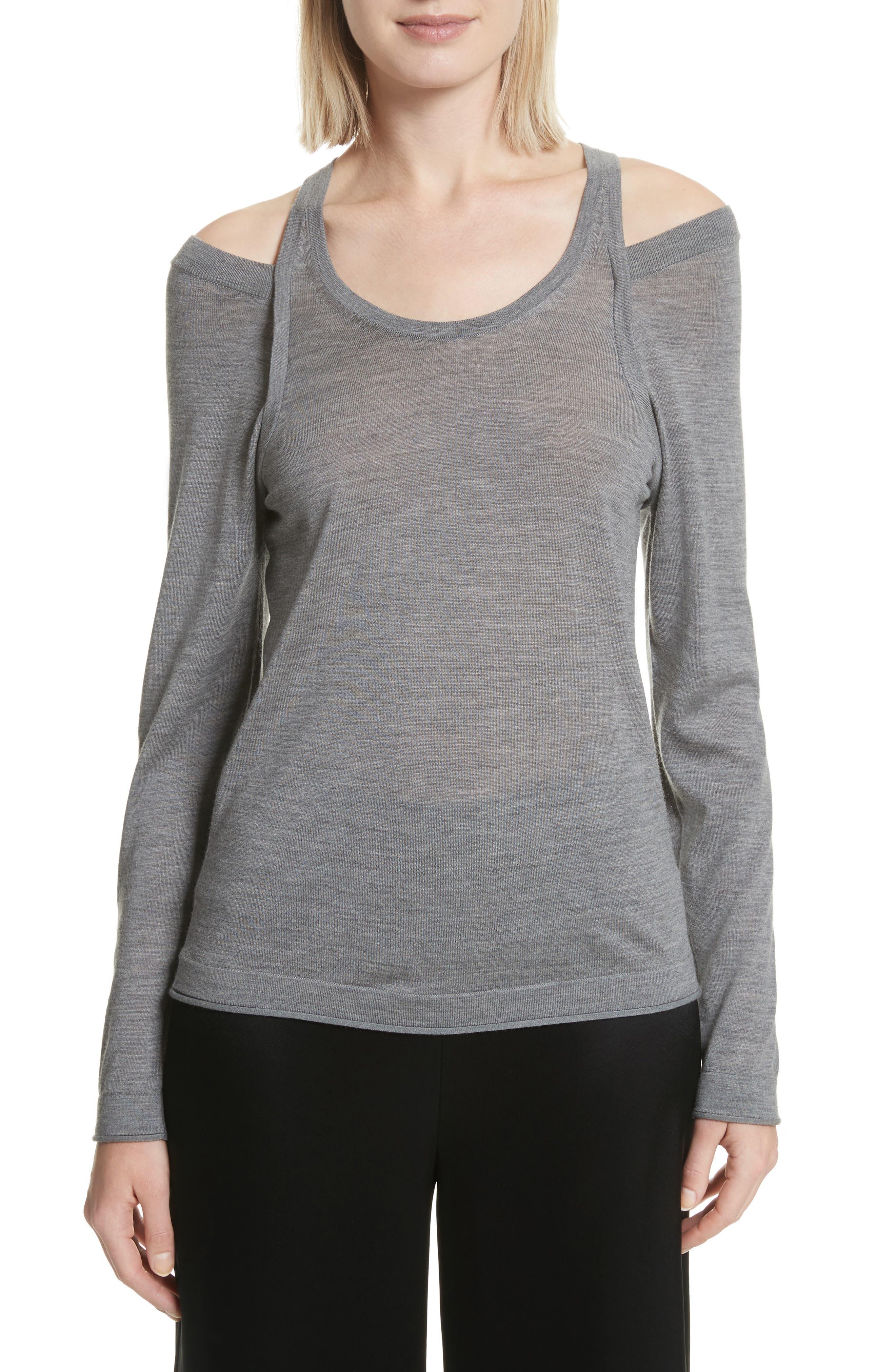 Wash & Go Cold Shoulder Merino Wool Sweater,                         Main,                         color, Heather Grey