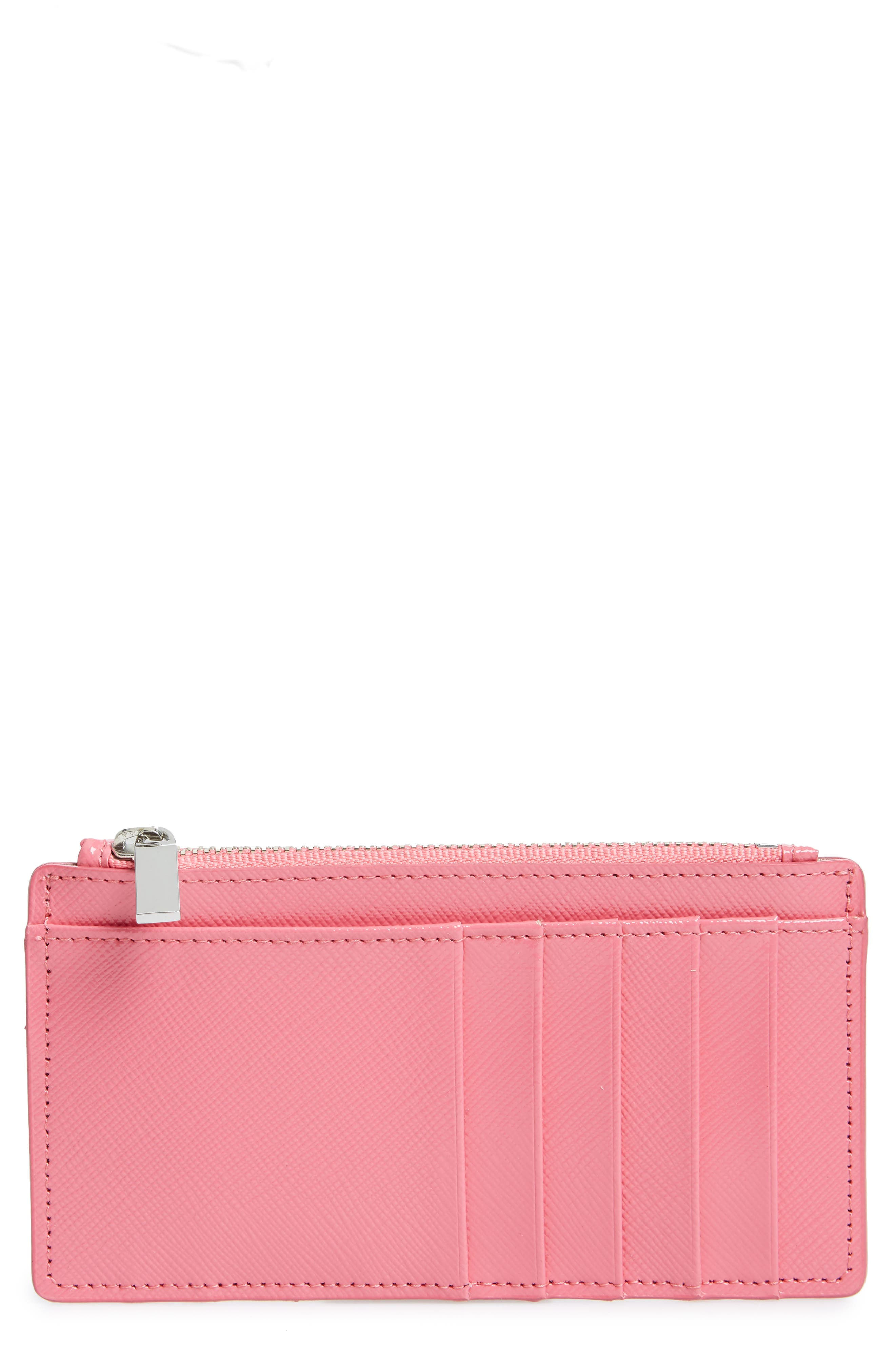 Leather Card Case,                             Main thumbnail 1, color,                             Pink Rapture