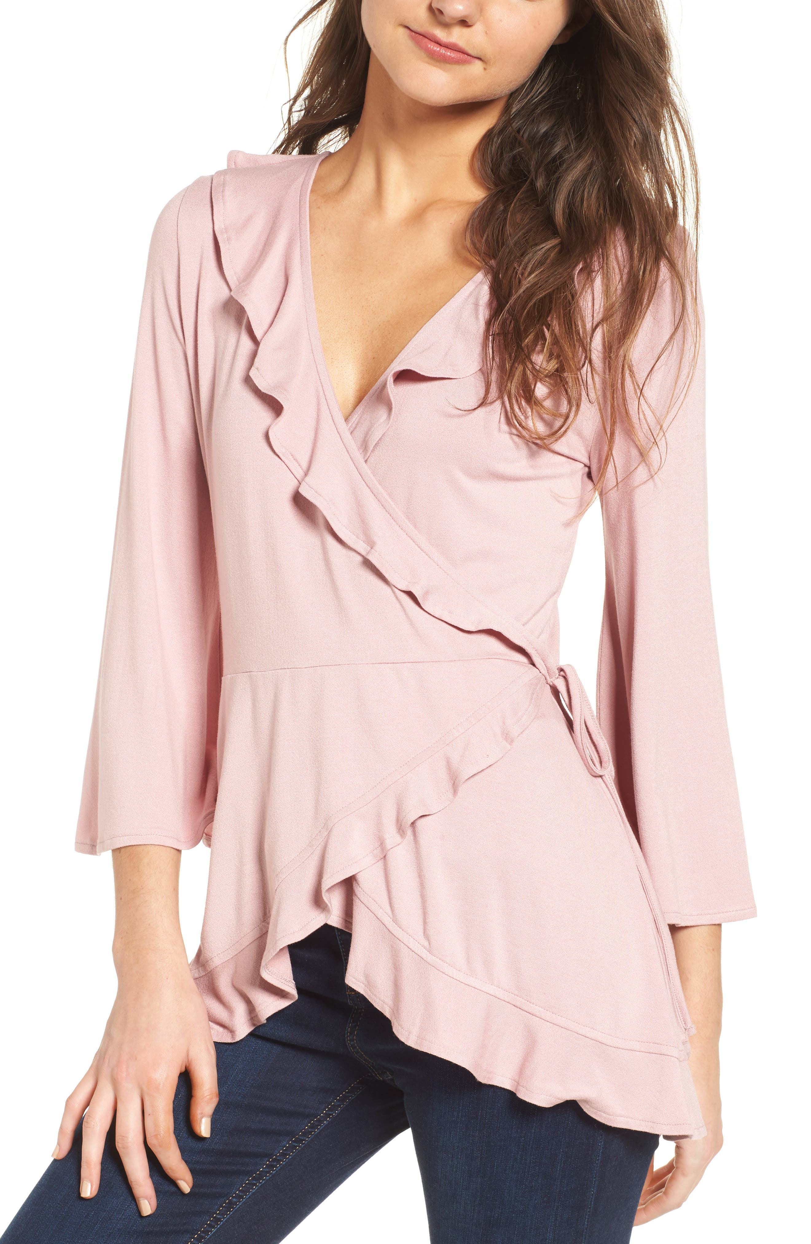 Ruffle Wrap Top,                         Main,                         color, Pink Zephyr