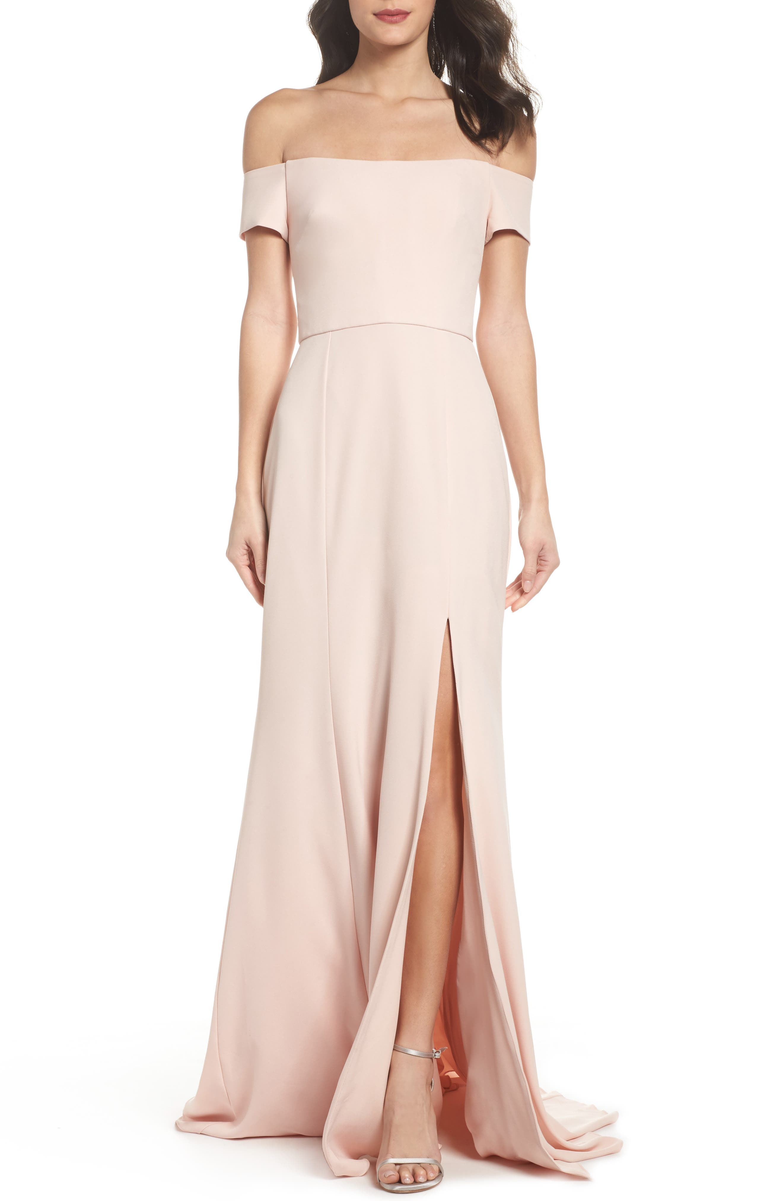 Off the Shoulder Crepe Gown,                         Main,                         color, Blush