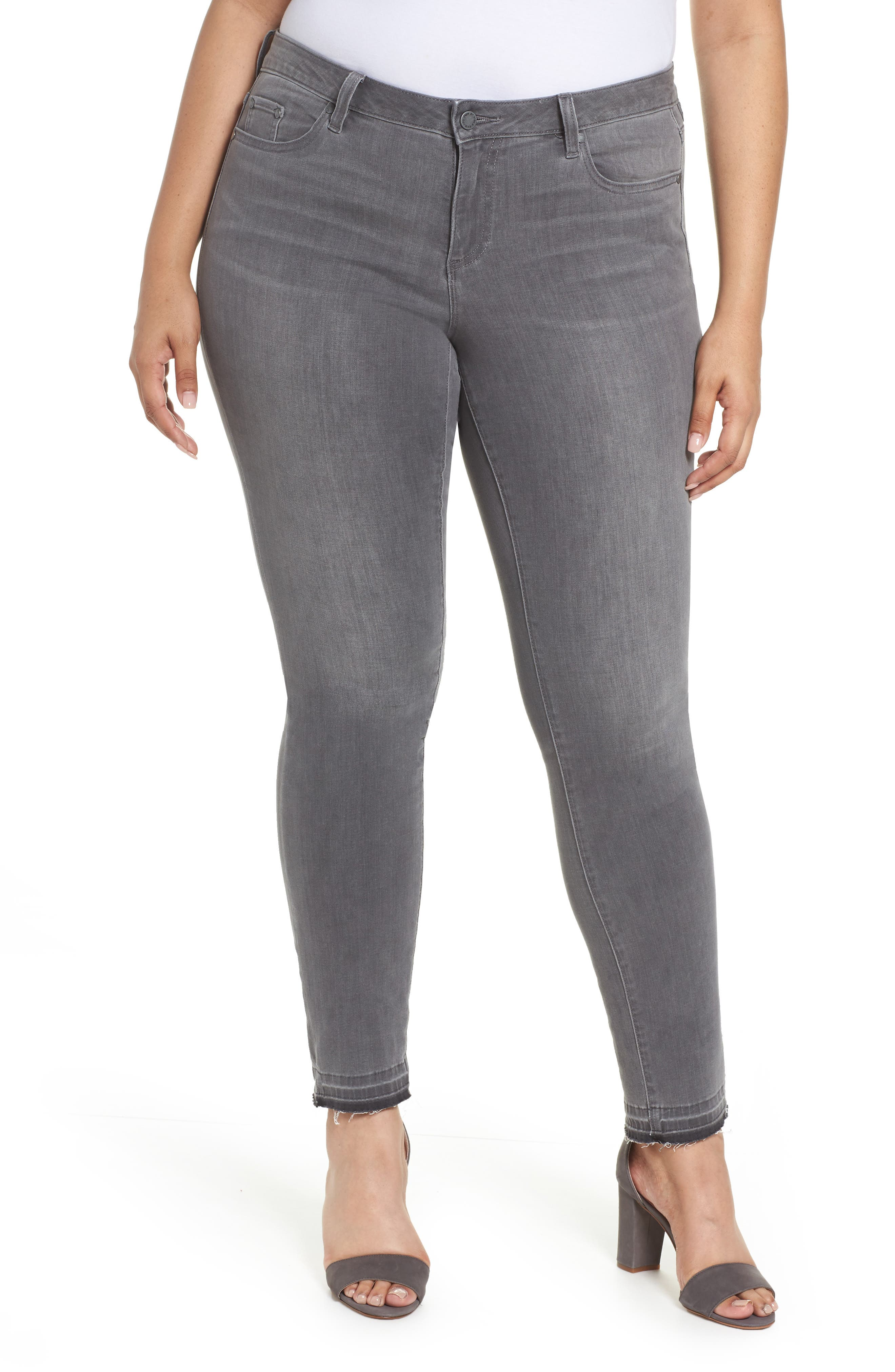 Alternate Image 1 Selected - Two by Vince Camuto Release Hem Skinny Jeans (Cobblestone) (Plus Size)