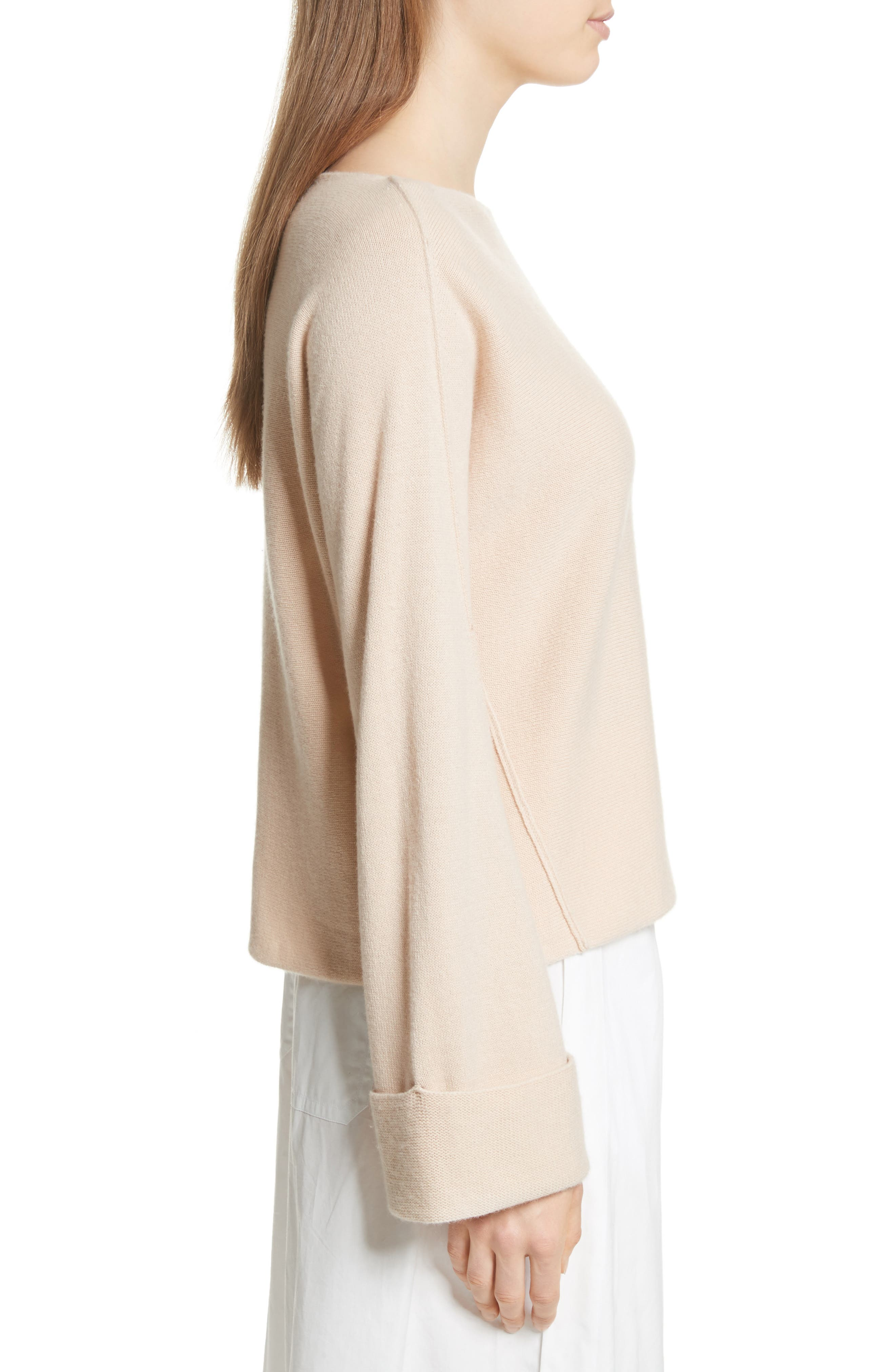 Cuffed Sleeve Wool & Cashmere Sweater,                             Alternate thumbnail 3, color,                             Praline