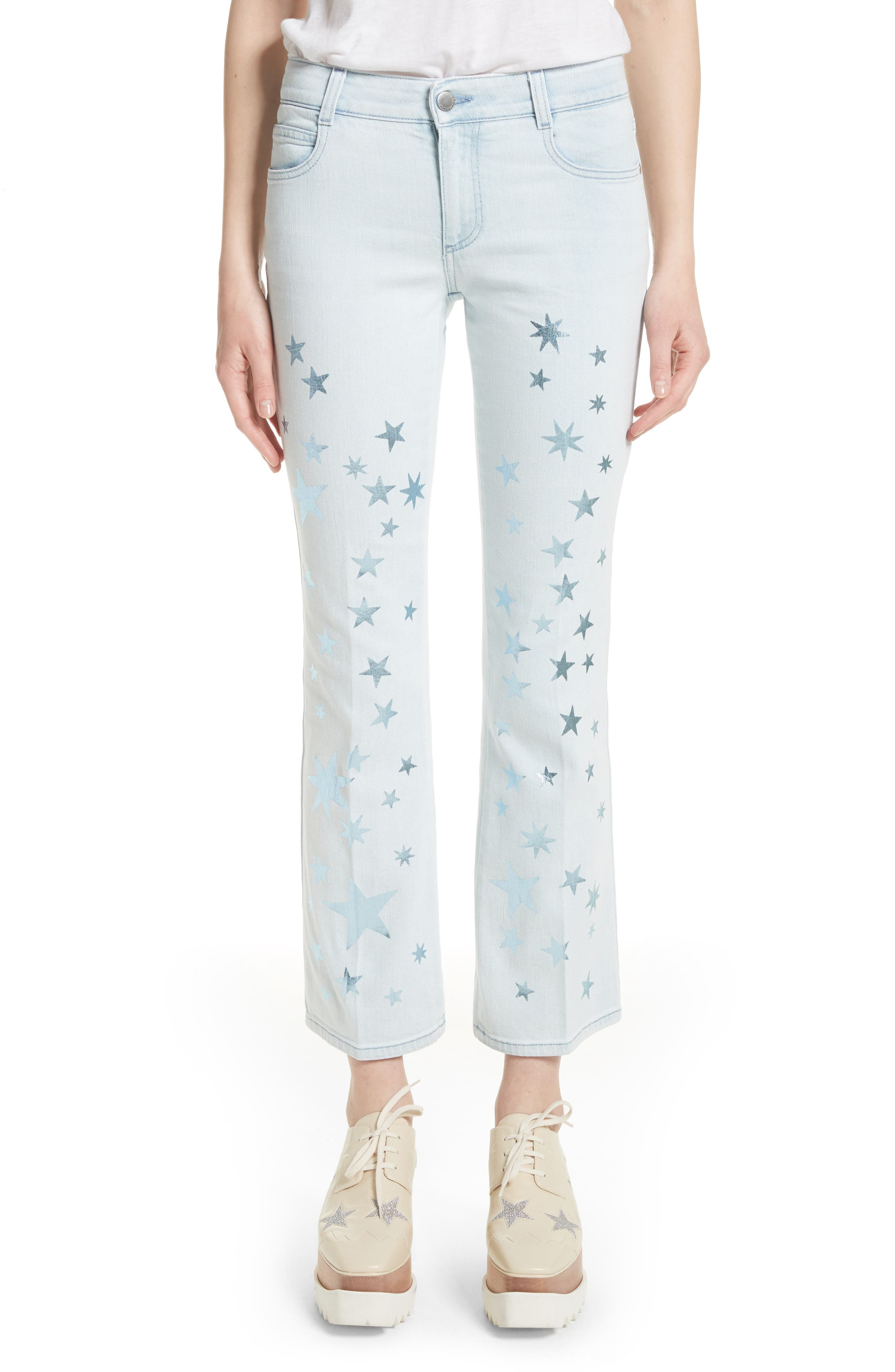 Alternate Image 1 Selected - Stella McCartney Metallic Star Kick Flare Jeans (Sun Faded Blue)