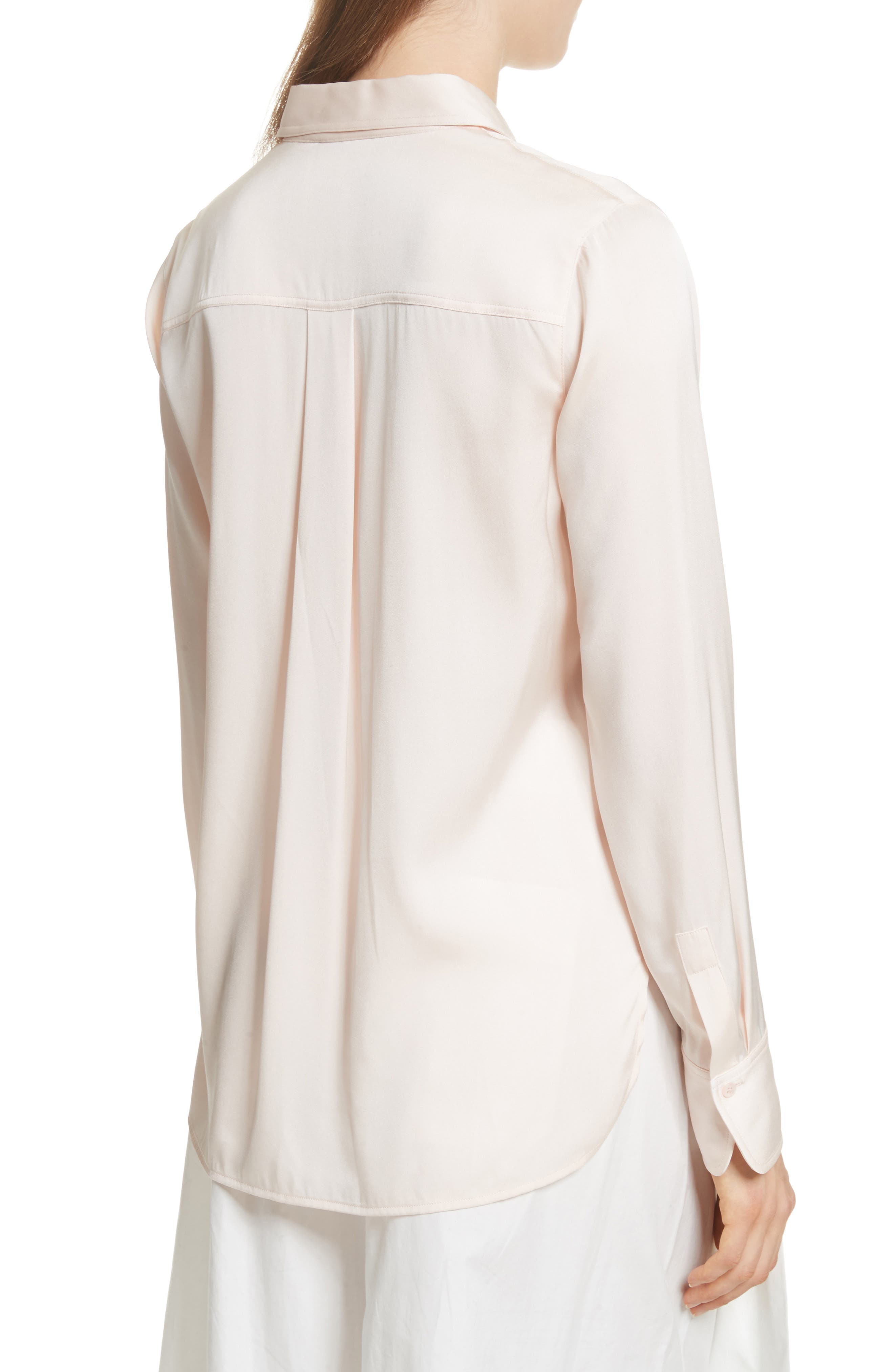Fitted Stretch Silk Blouse,                             Alternate thumbnail 2, color,                             Rosewater