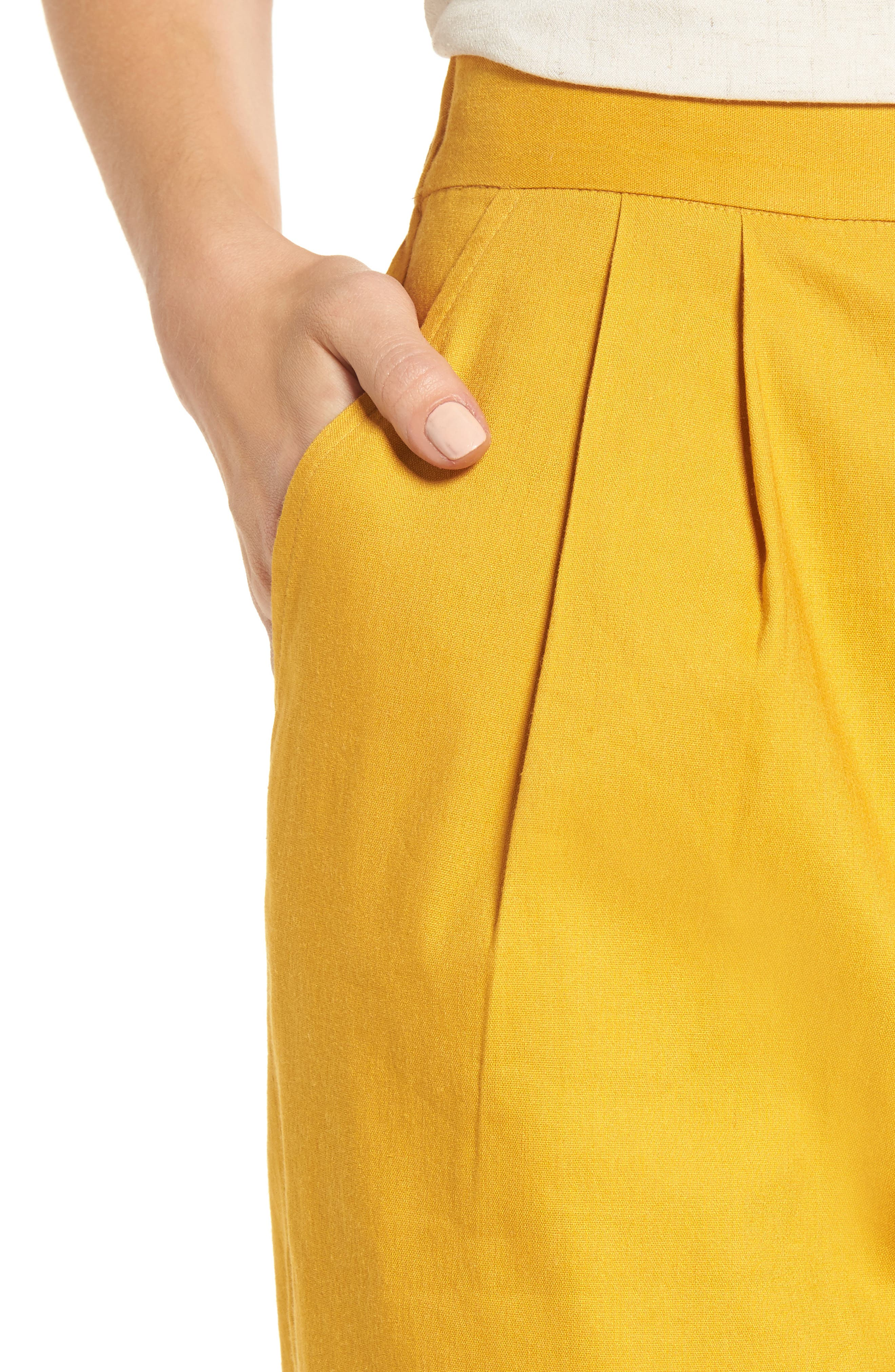 Pleat Front Crop Pants,                             Alternate thumbnail 4, color,                             Yellow Mineral