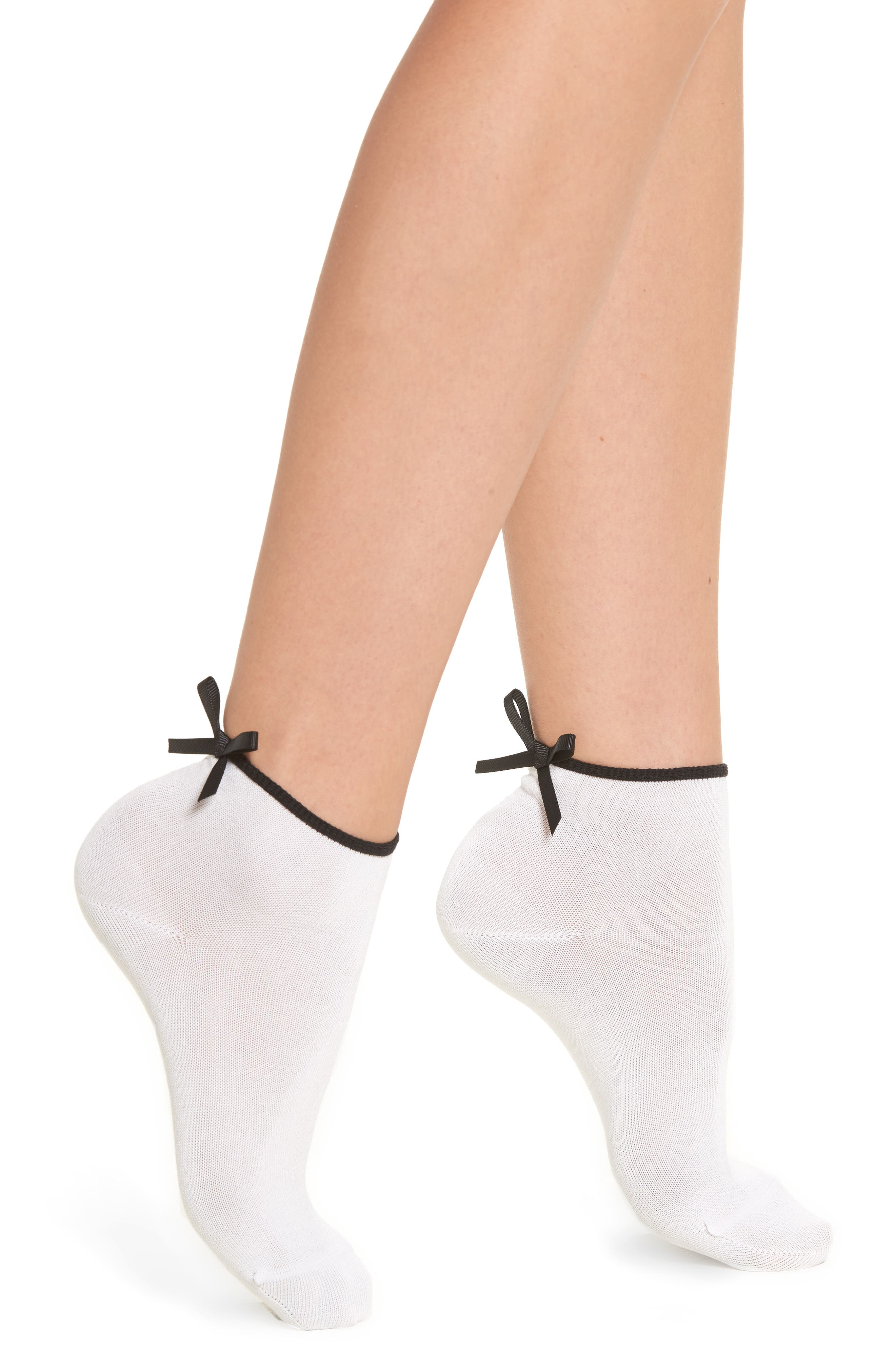 Bow Back Ankle Socks,                             Main thumbnail 1, color,                             White