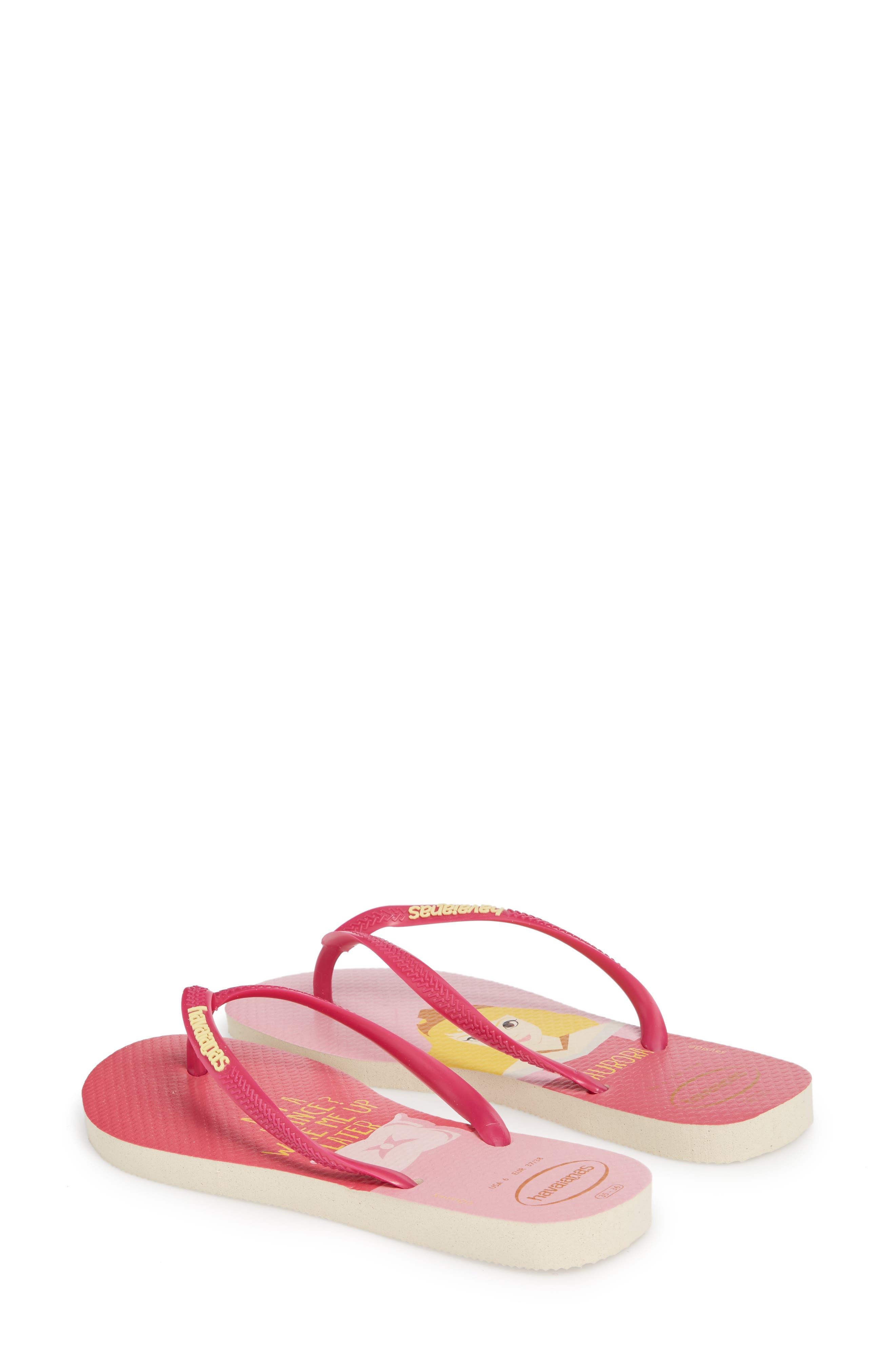 Havaiana Slim - Disney Princess Flip Flop,                             Alternate thumbnail 2, color,                             Beige/ Pink