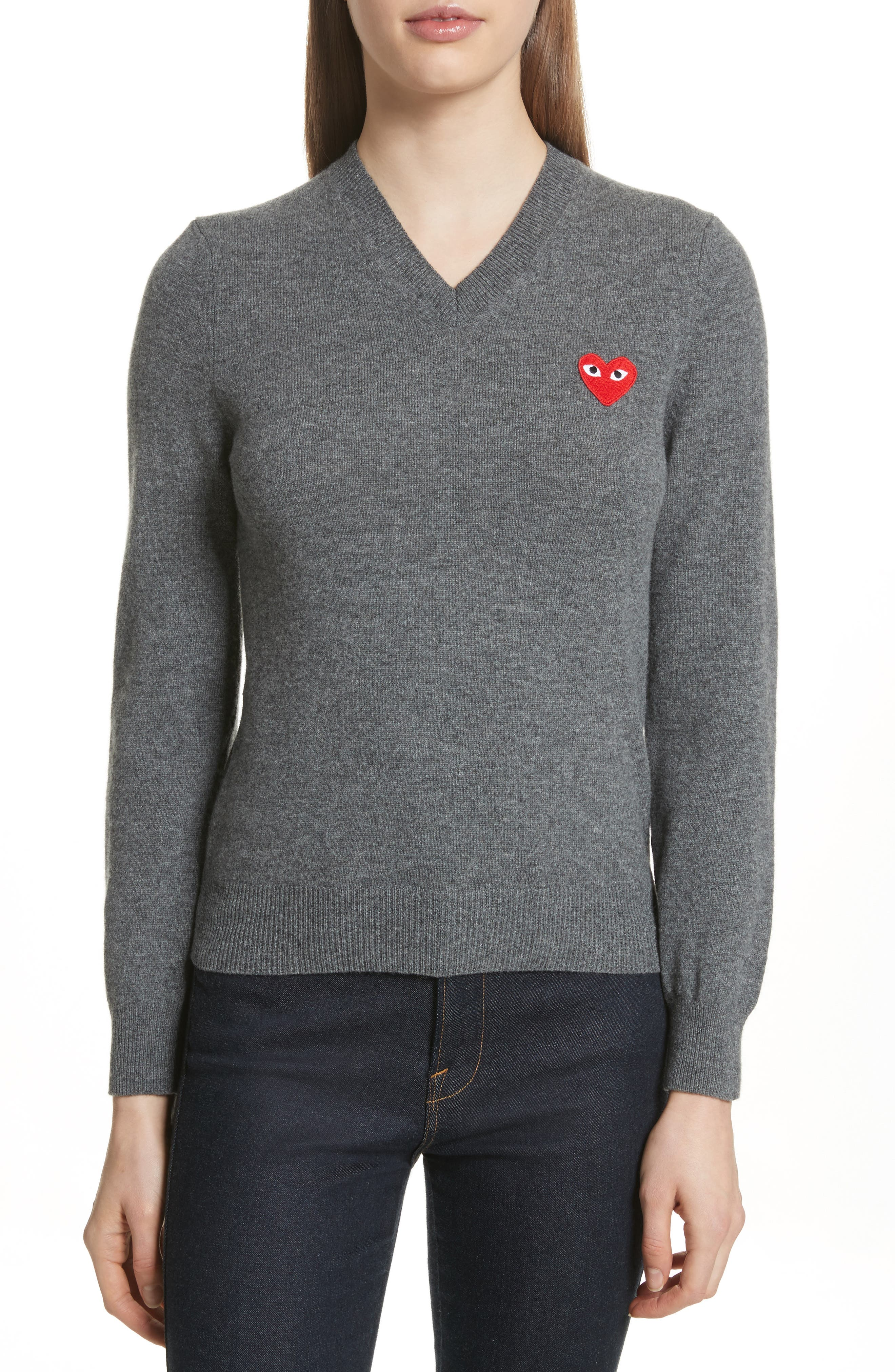 Comme des Garçons PLAY Wool V-Neck Sweater,                             Main thumbnail 1, color,                             Grey