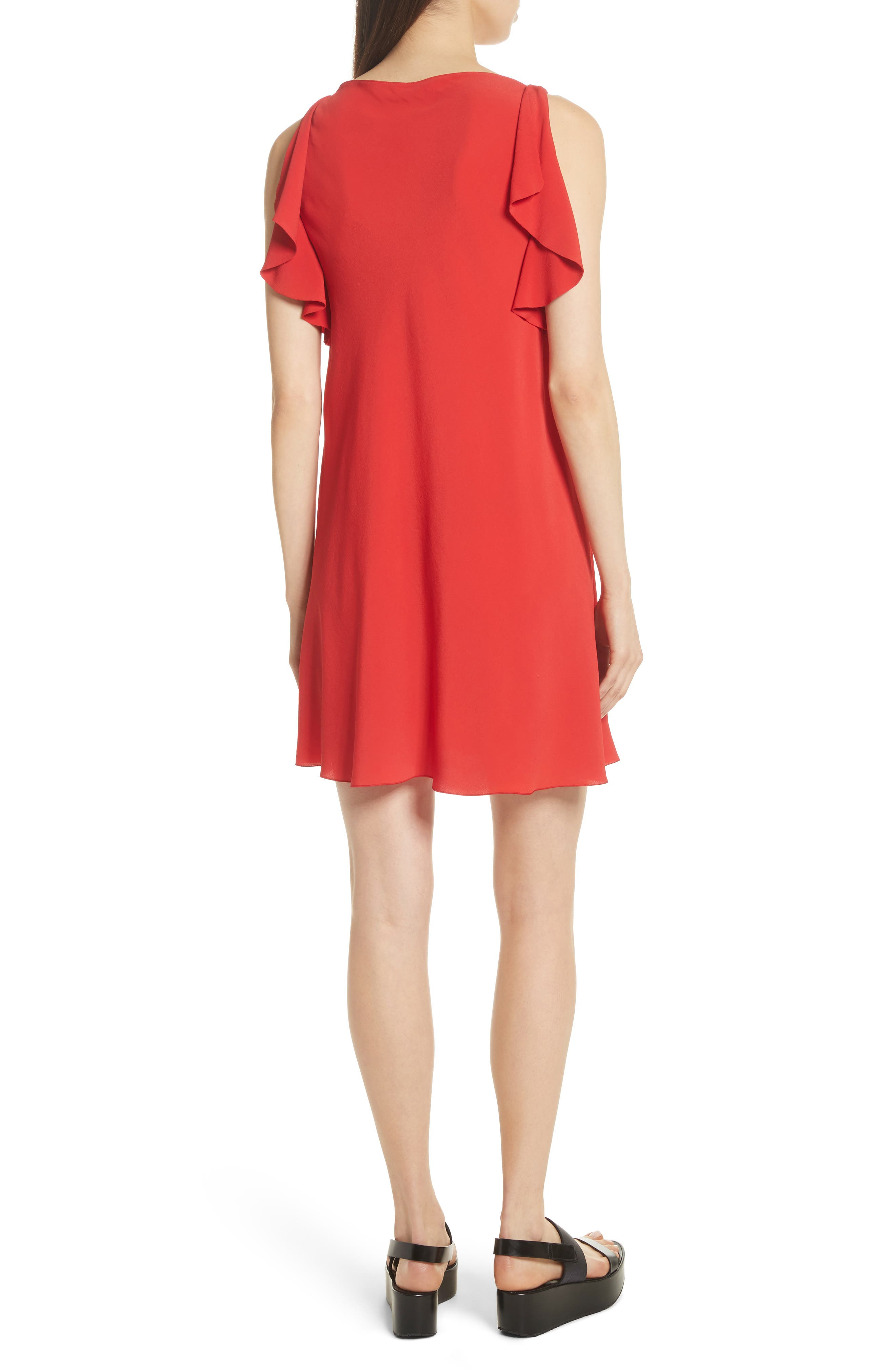 Ruffle Trim A-Line Dress,                             Alternate thumbnail 2, color,                             Red
