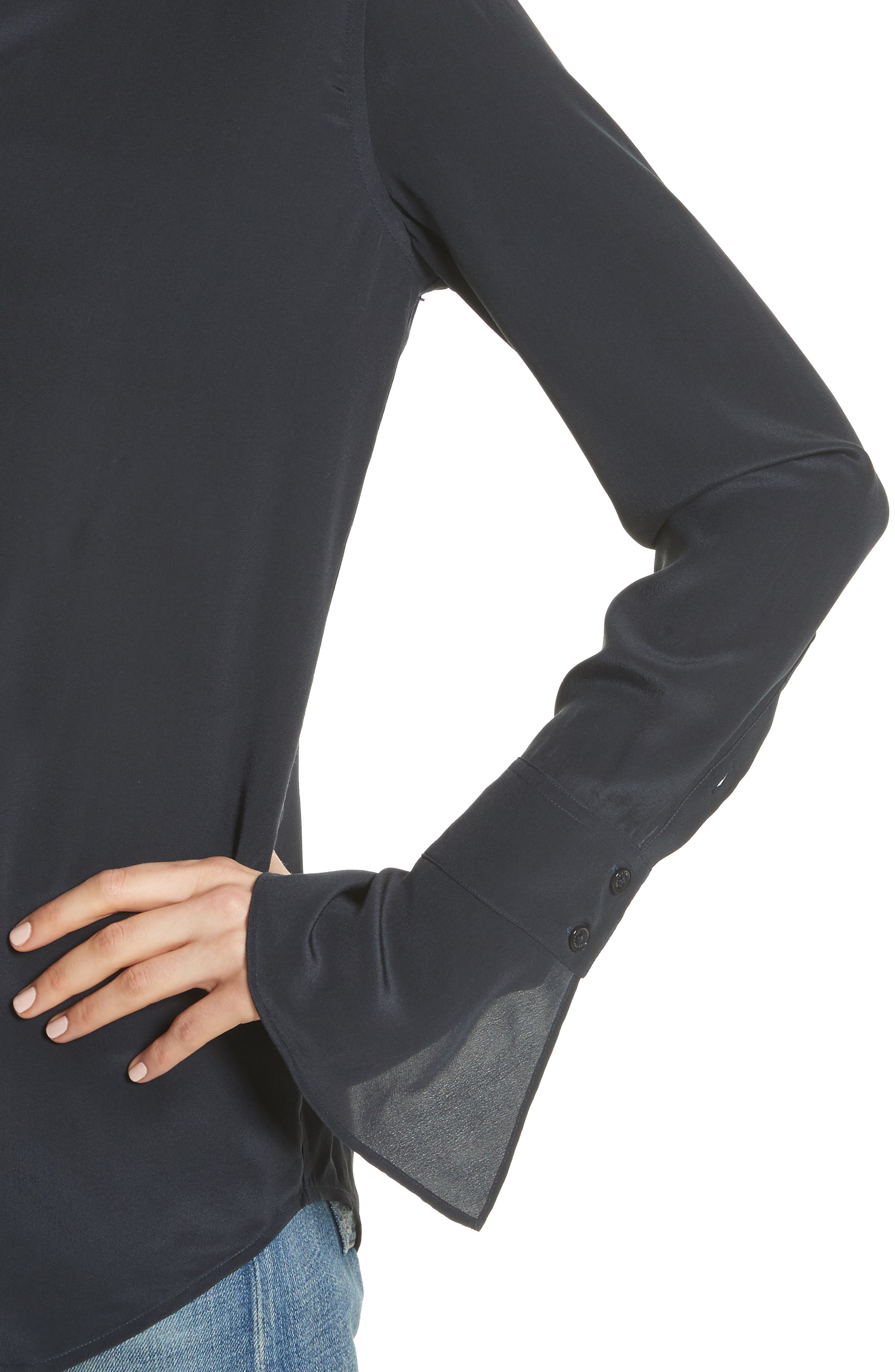 Daphine Bell Cuff Silk Shirt,                             Alternate thumbnail 4, color,                             Eclipse