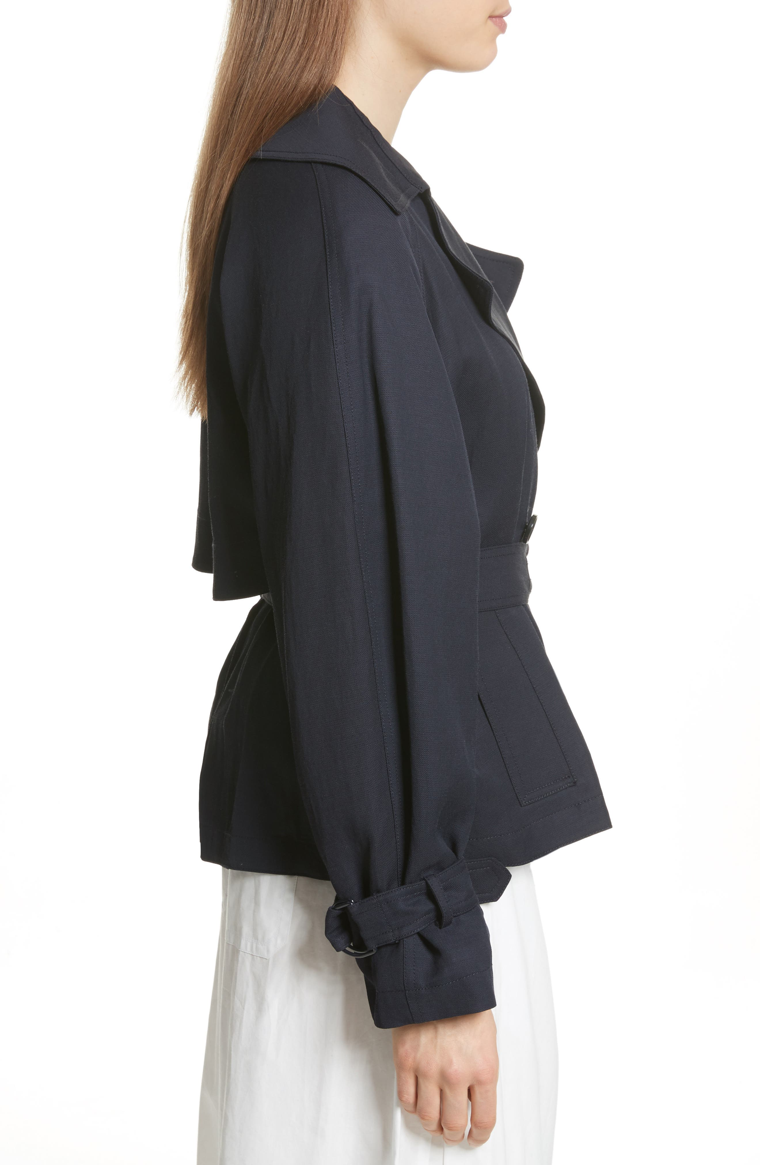 Crop Trench Coat,                             Alternate thumbnail 3, color,                             Coastal