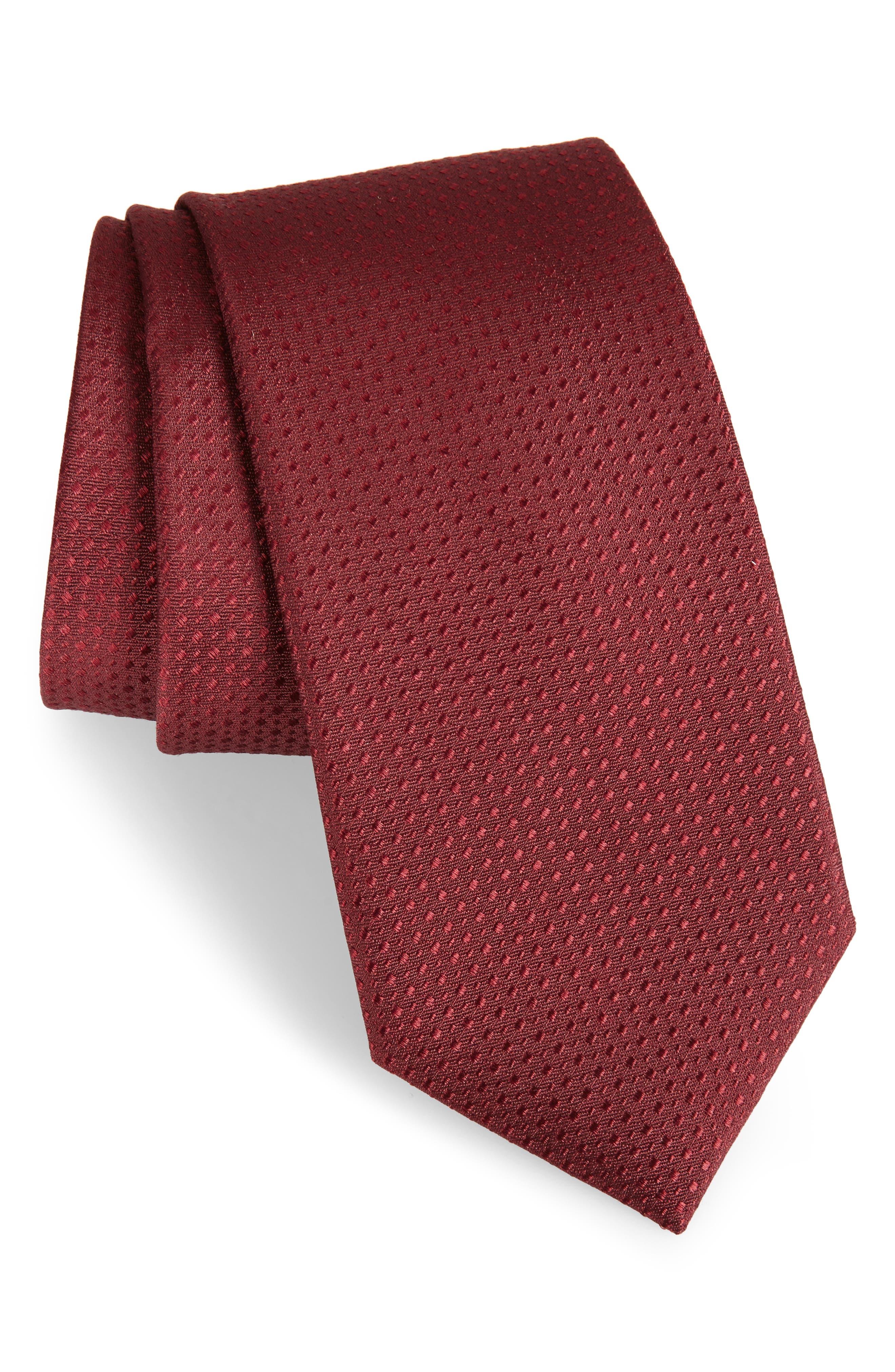 Ballard Solid Silk Tie,                         Main,                         color, Burgundy