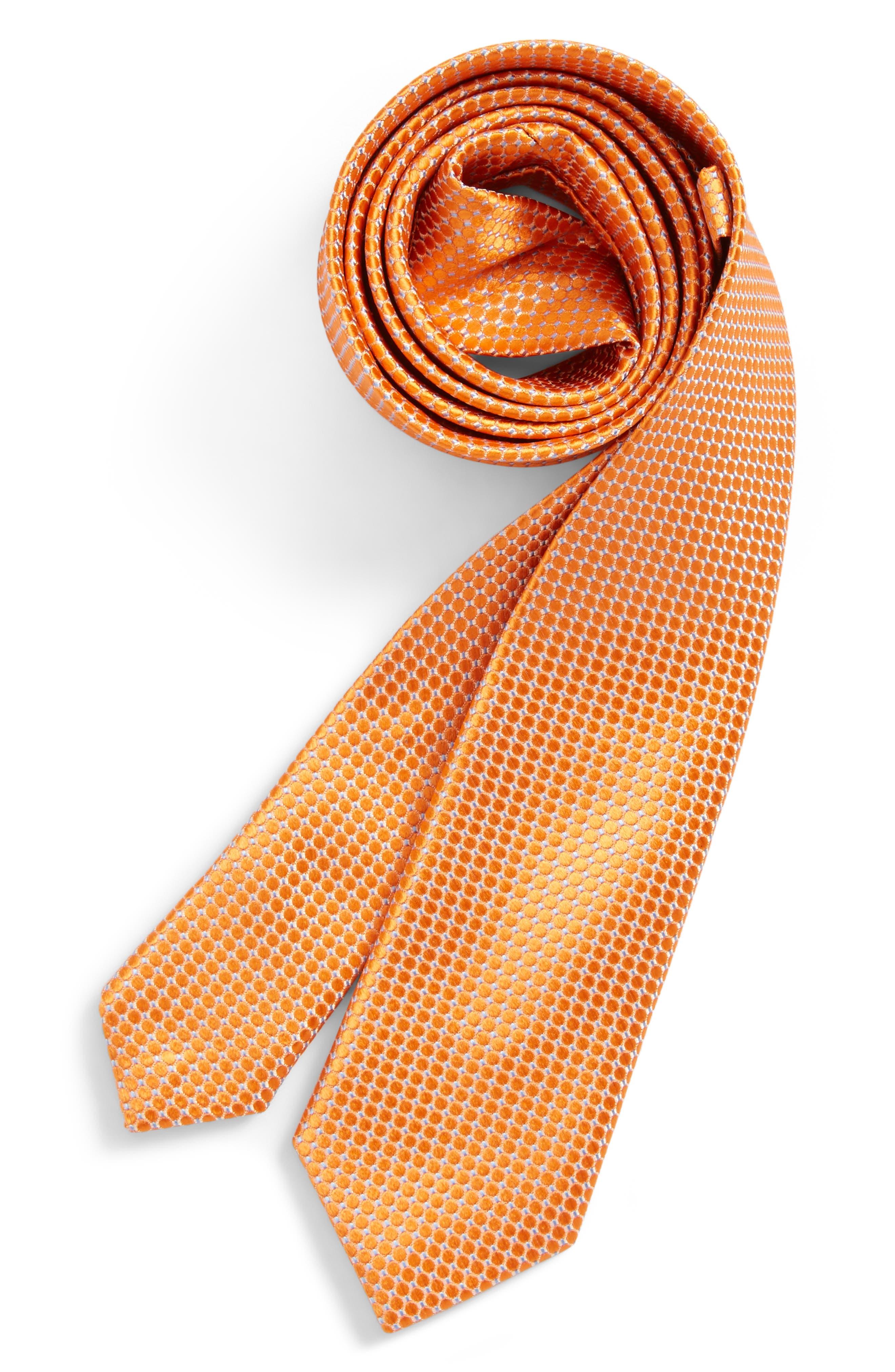 Neat Dot Silk Tie,                         Main,                         color, Orange