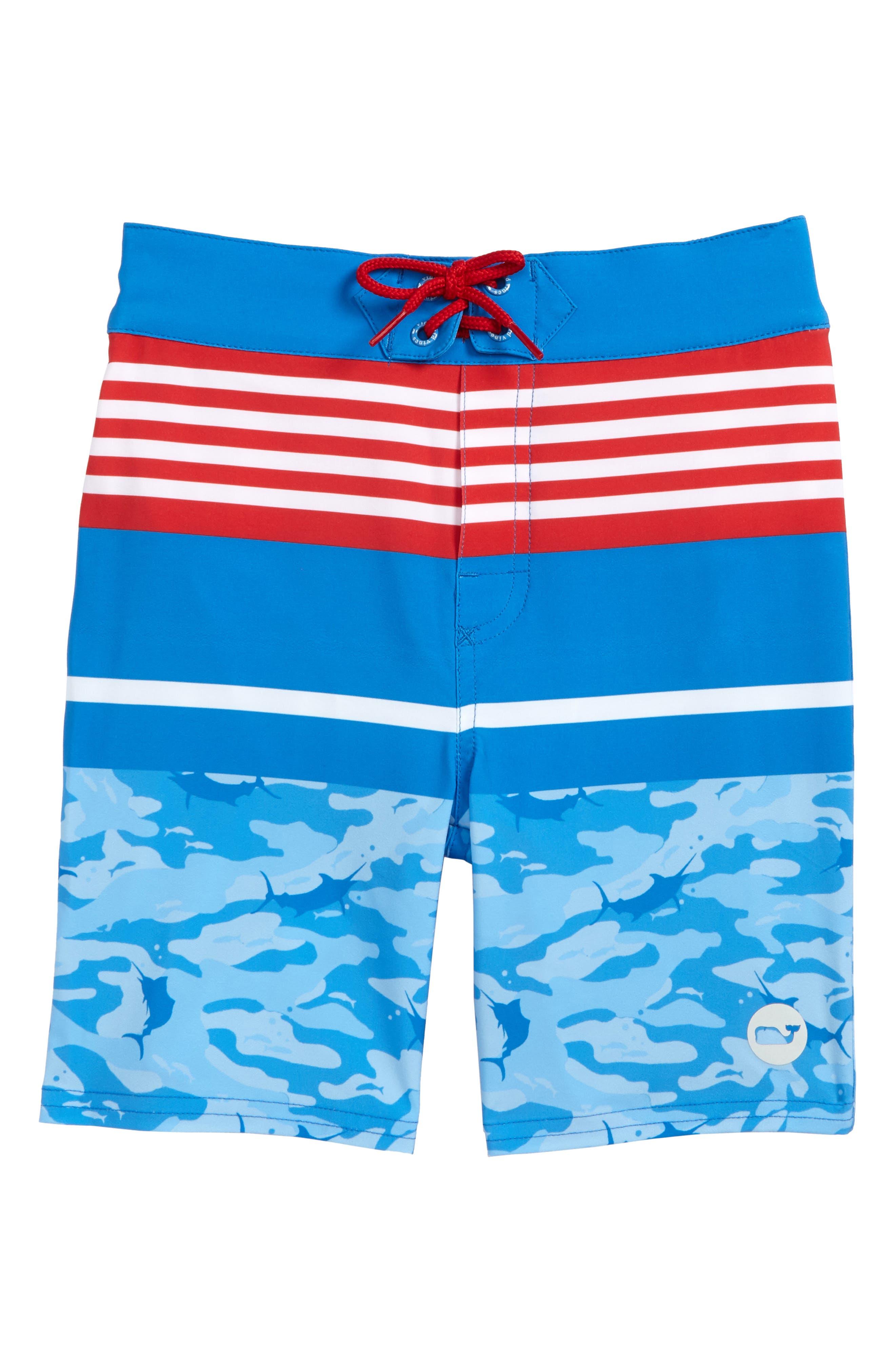 Main Image - vineyard vines Fish Camo Stripe Board Shorts (Toddler Boys & Little Boys)