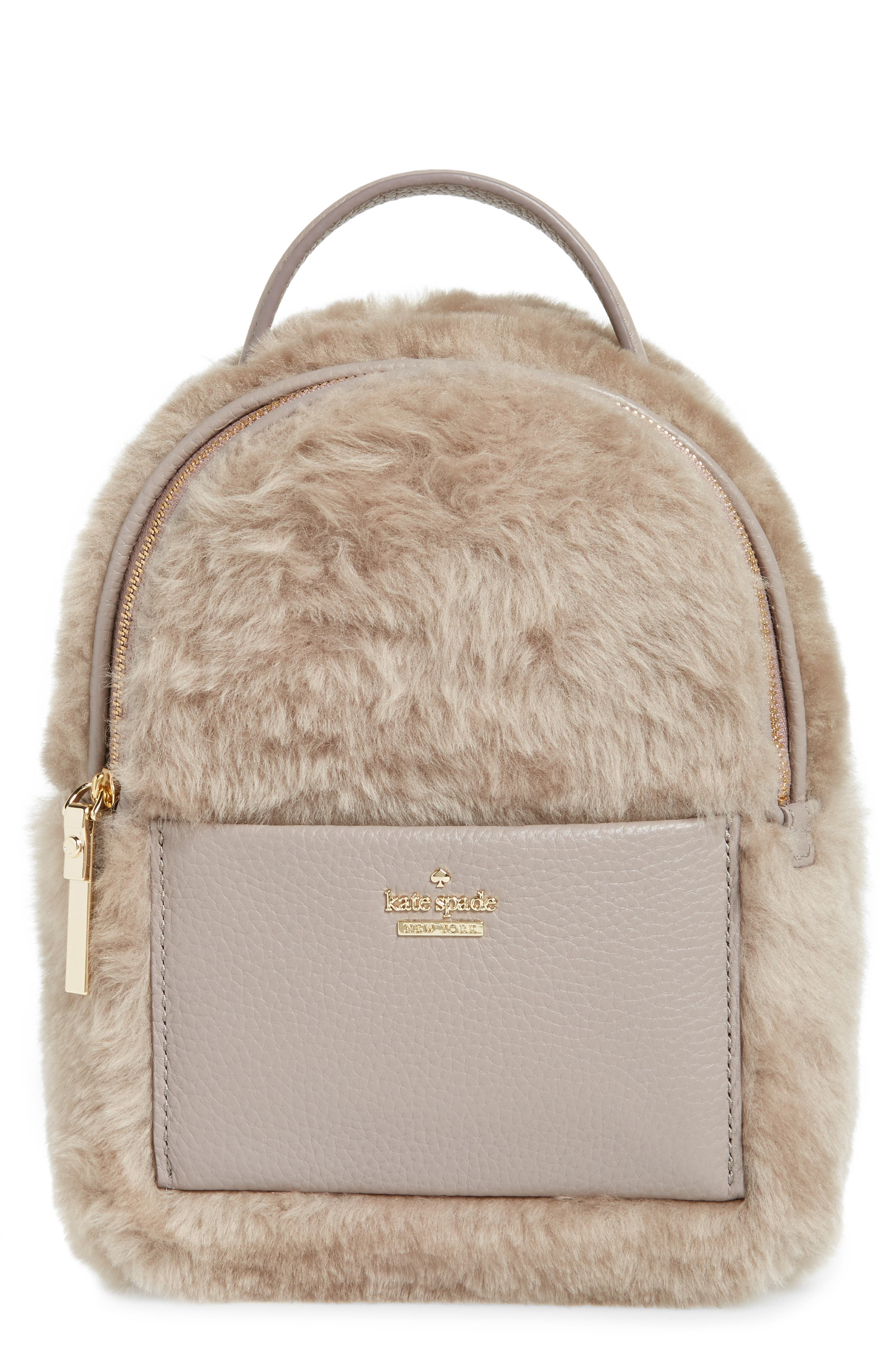 kate spade new york finer things merry genuine shearling convertible backpack