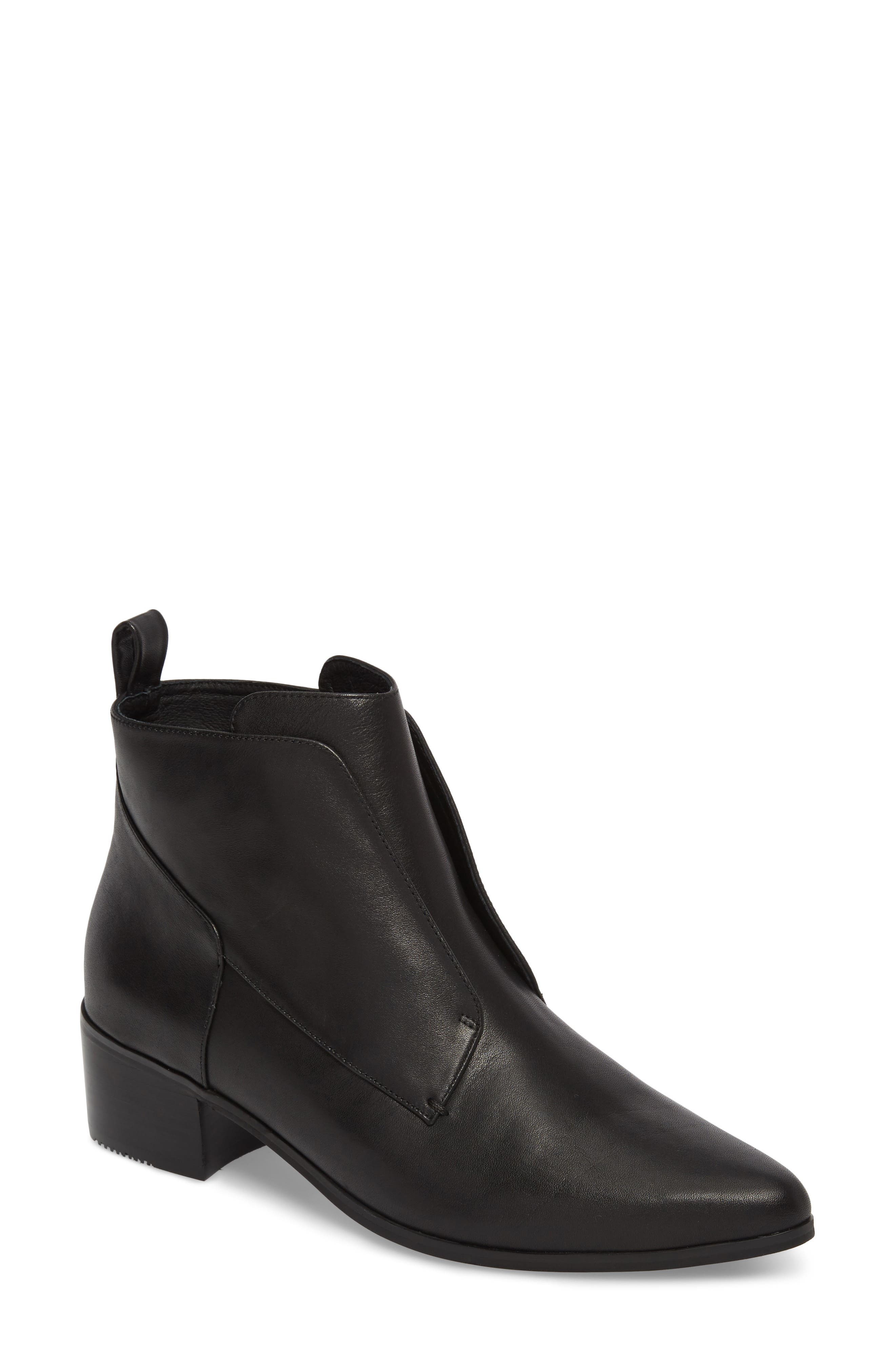 Walter Laceless Bootie,                         Main,                         color, Black Leather