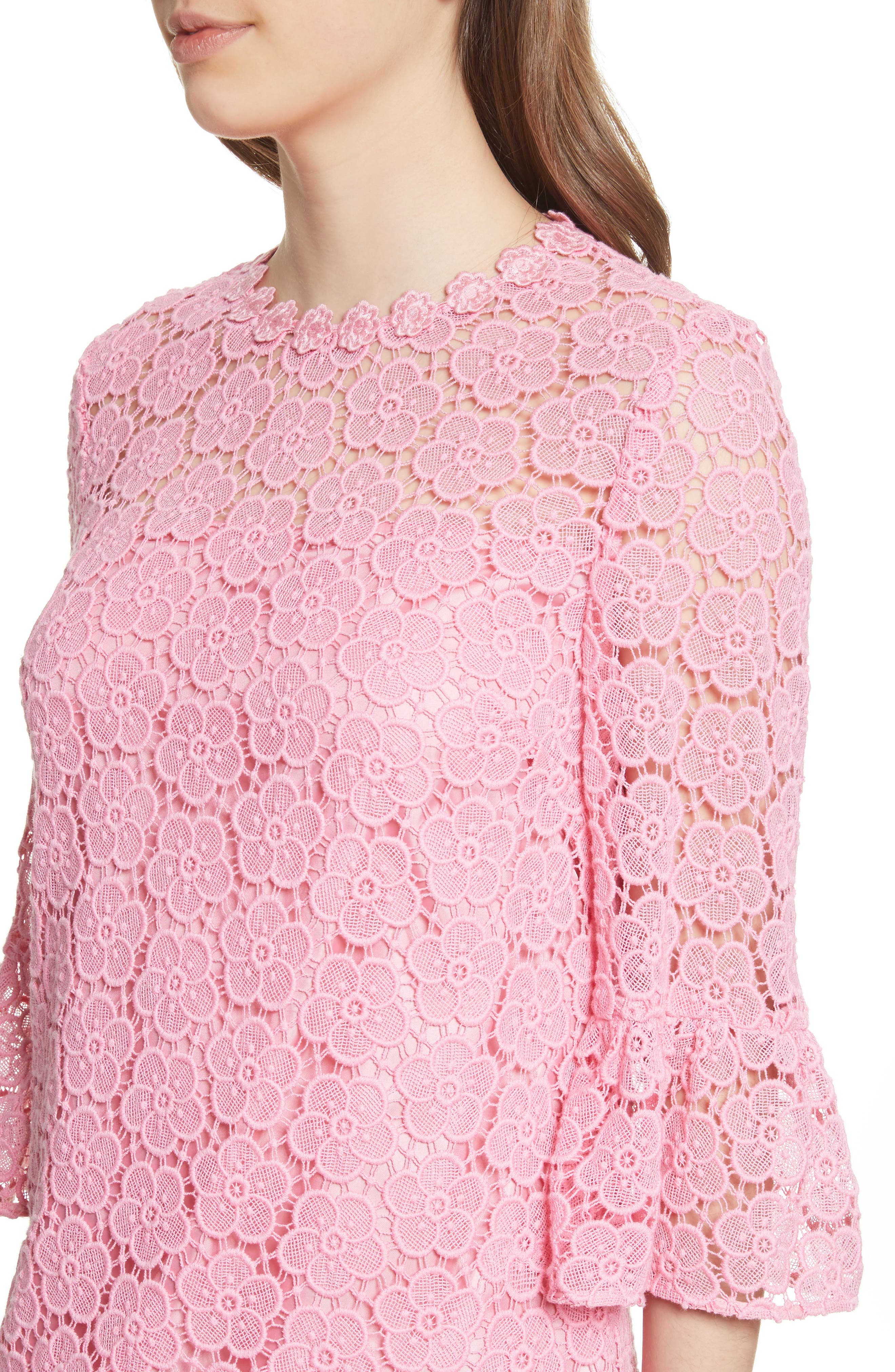 bloom flower lace shift dress,                             Alternate thumbnail 4, color,                             Parisian Pink