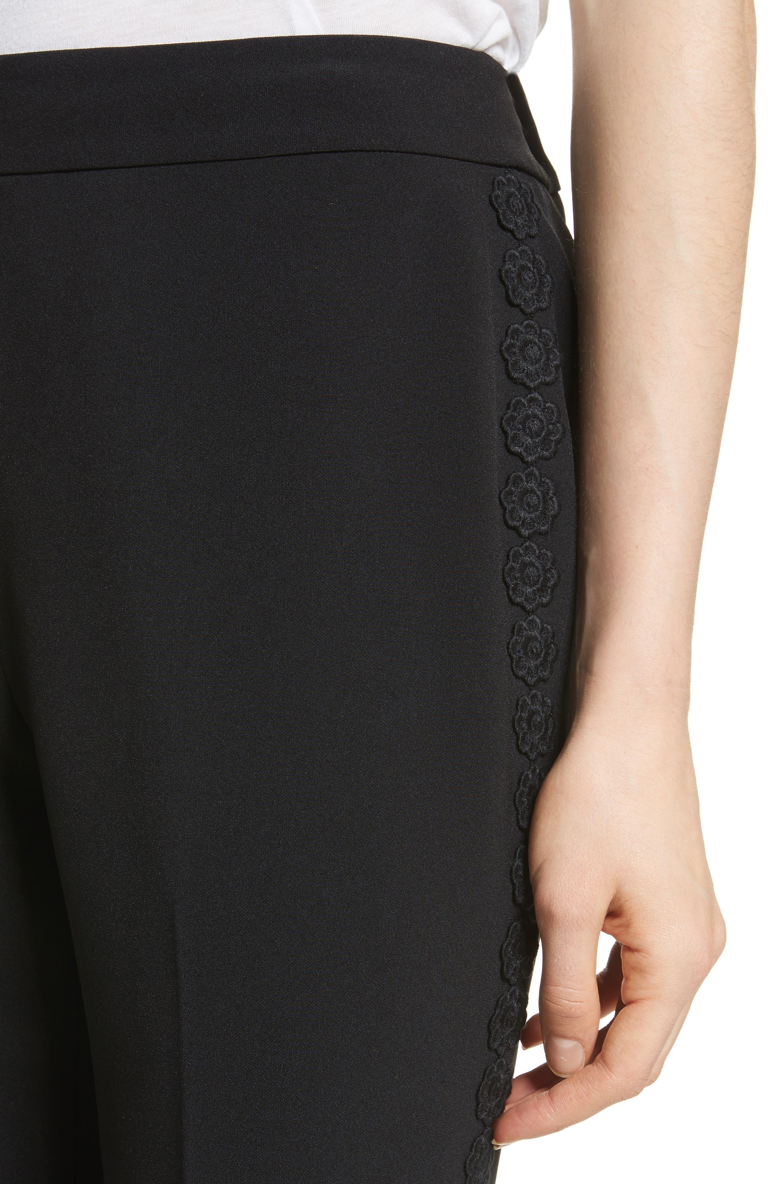 lace trim crop cigarette pants,                             Alternate thumbnail 4, color,                             Black