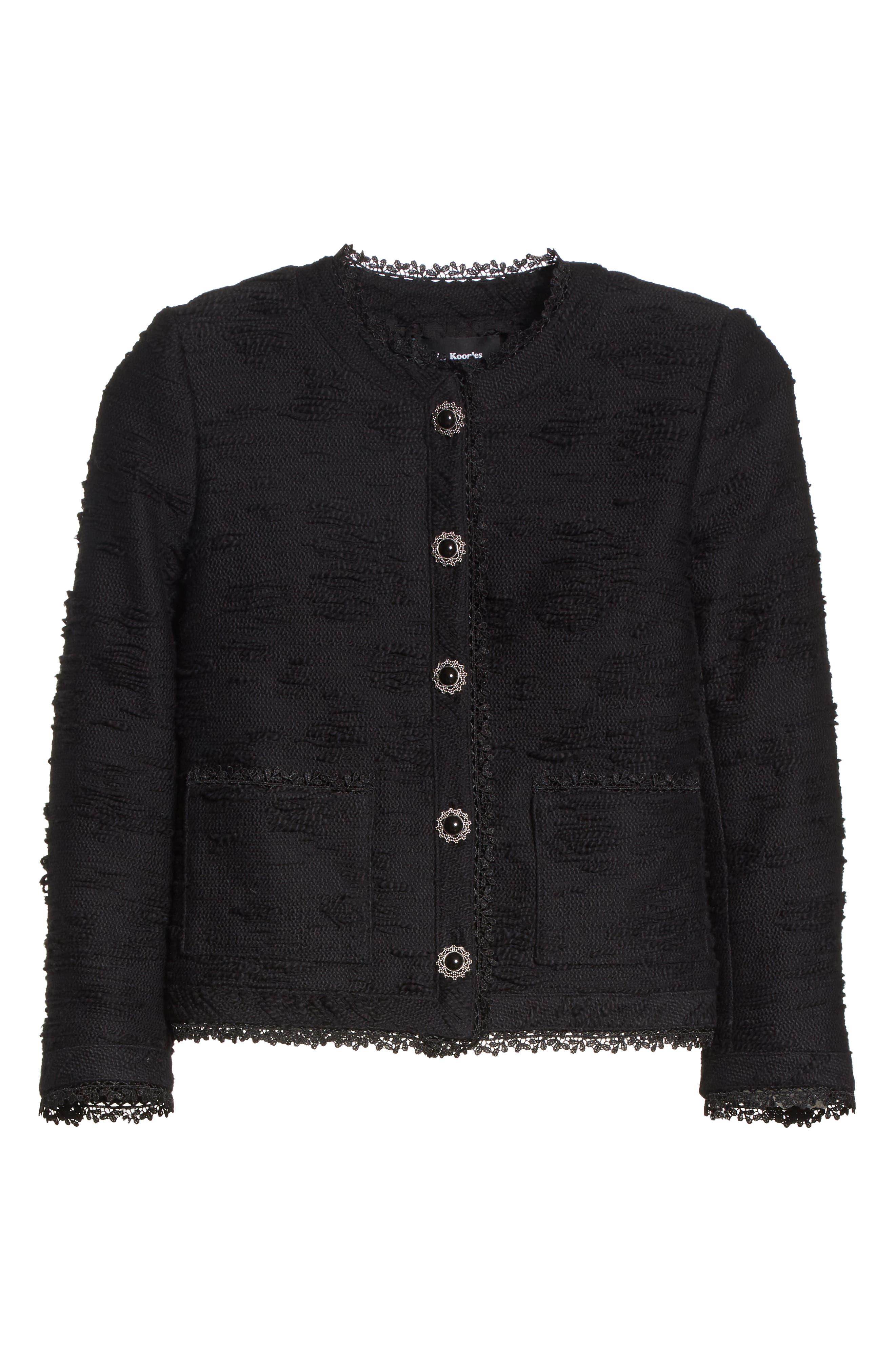 Lace Trim Boxy Jacket,                             Alternate thumbnail 6, color,                             Black