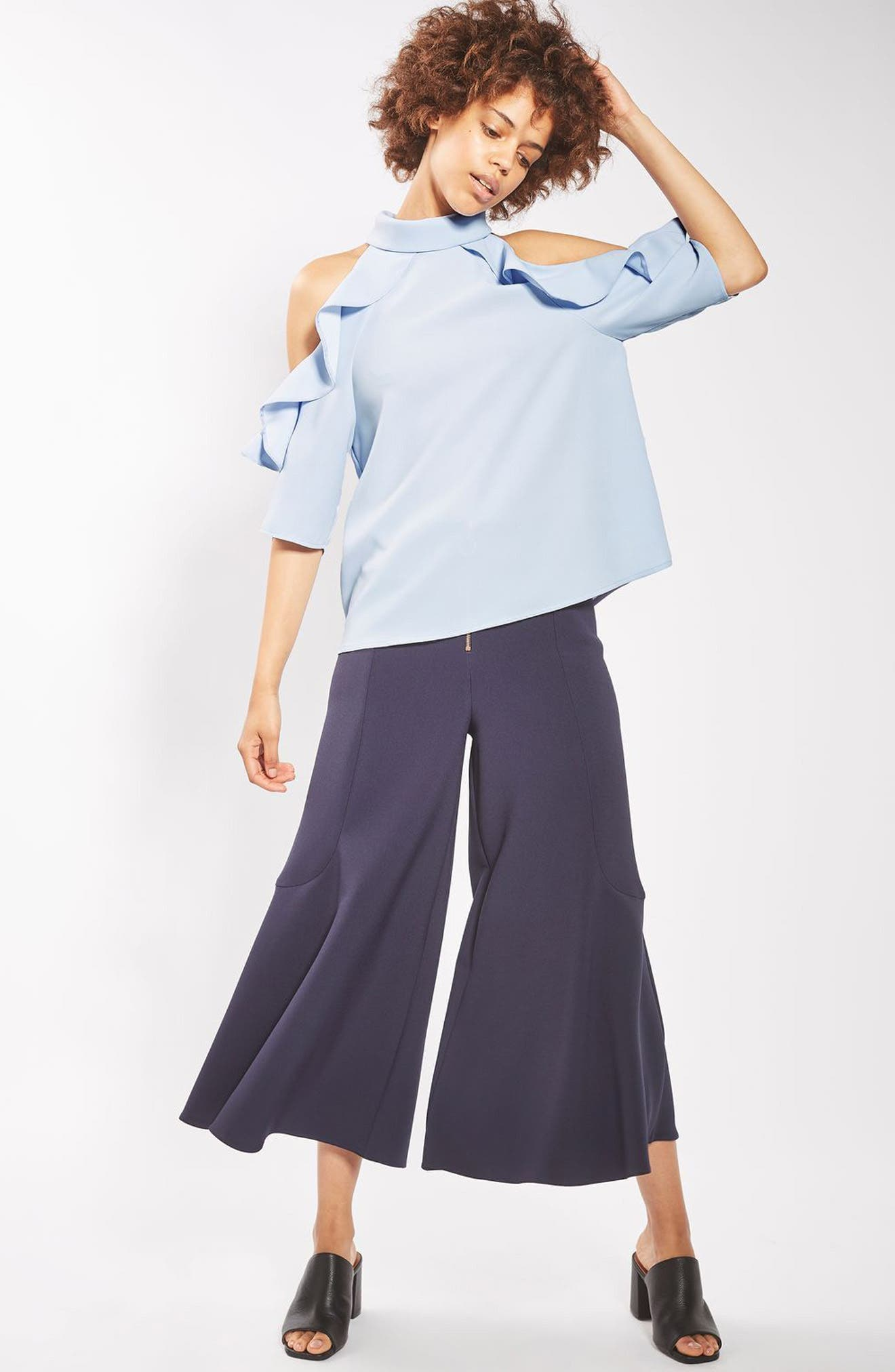 Ruffle Cold Shoulder Top,                             Alternate thumbnail 2, color,                             Blue