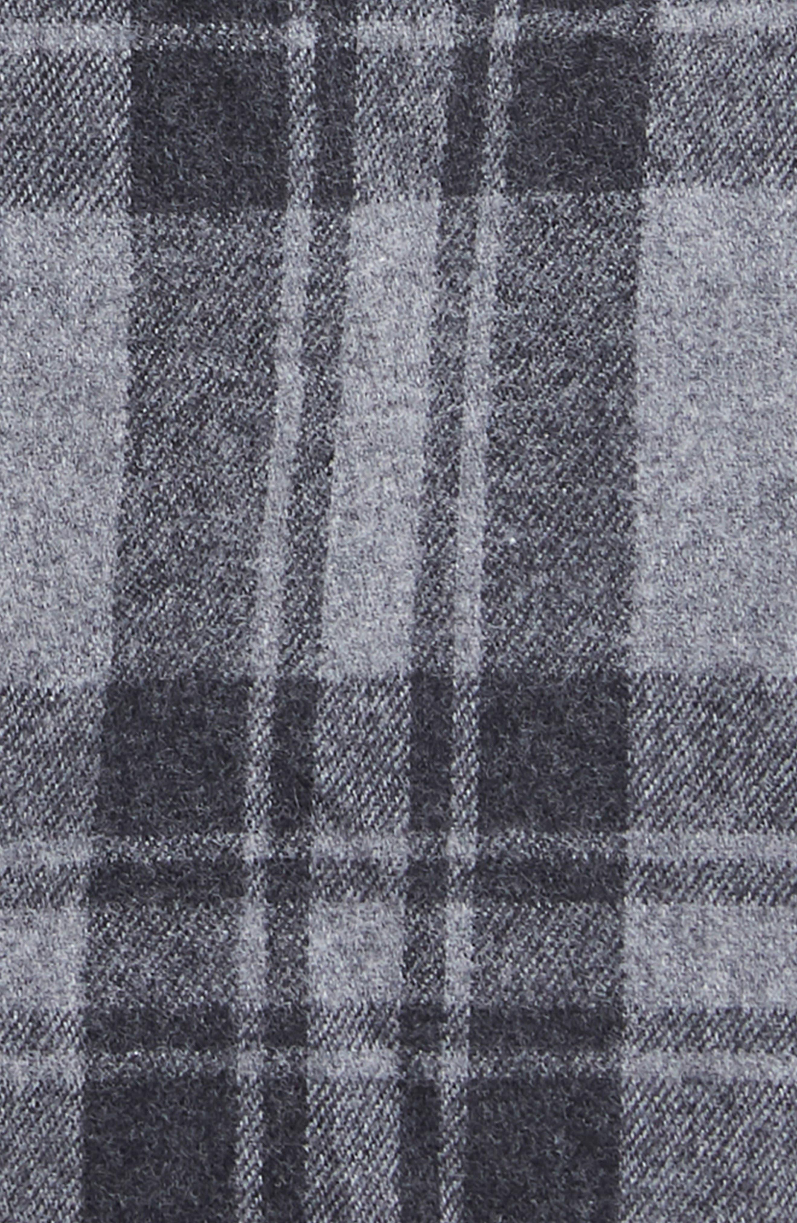 Sol Flannel Wrap Coat,                             Alternate thumbnail 5, color,                             Grey Plaid