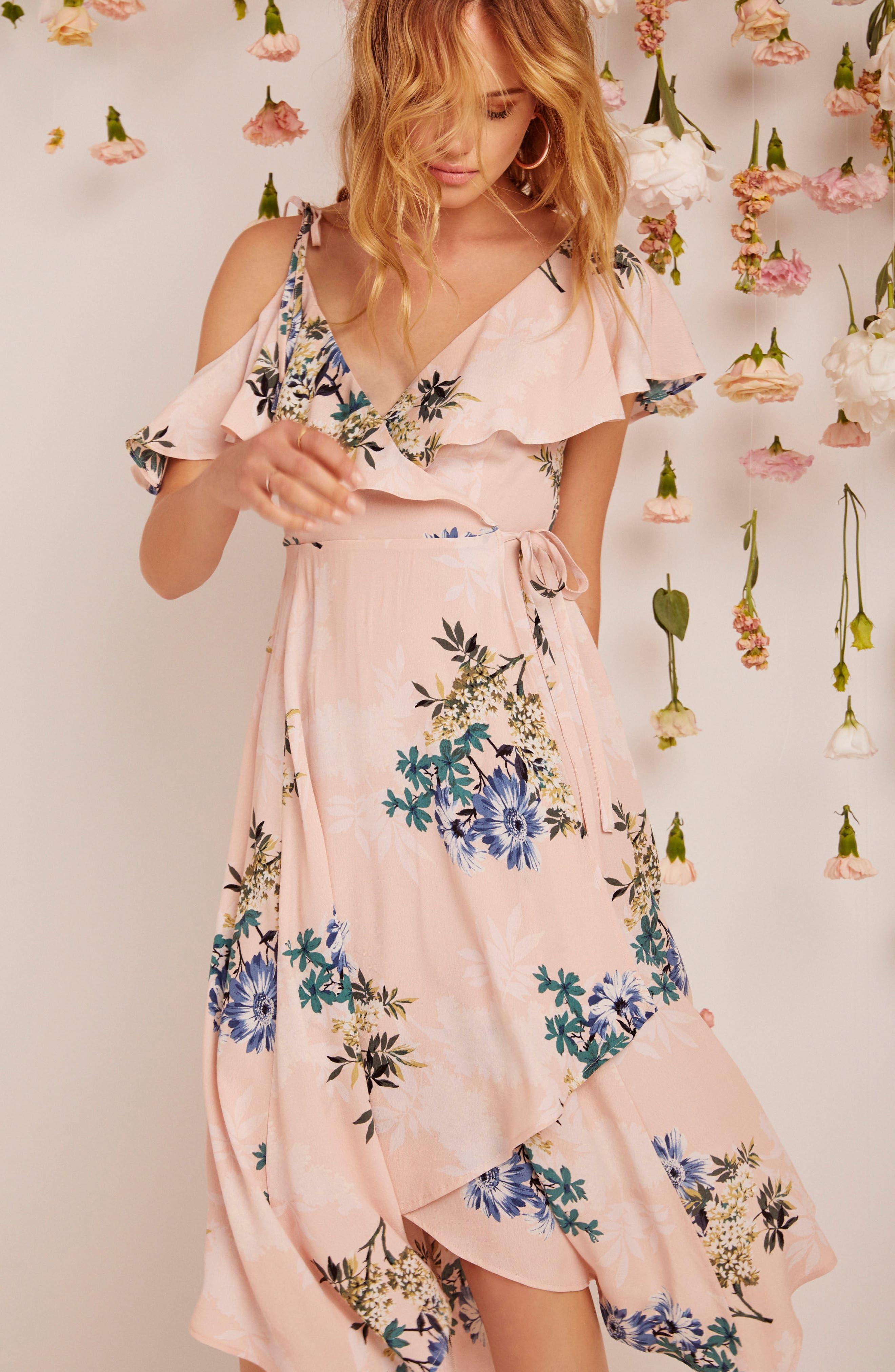 Yessenia Wrap Dress,                             Alternate thumbnail 5, color,                             Blush Multi Floral