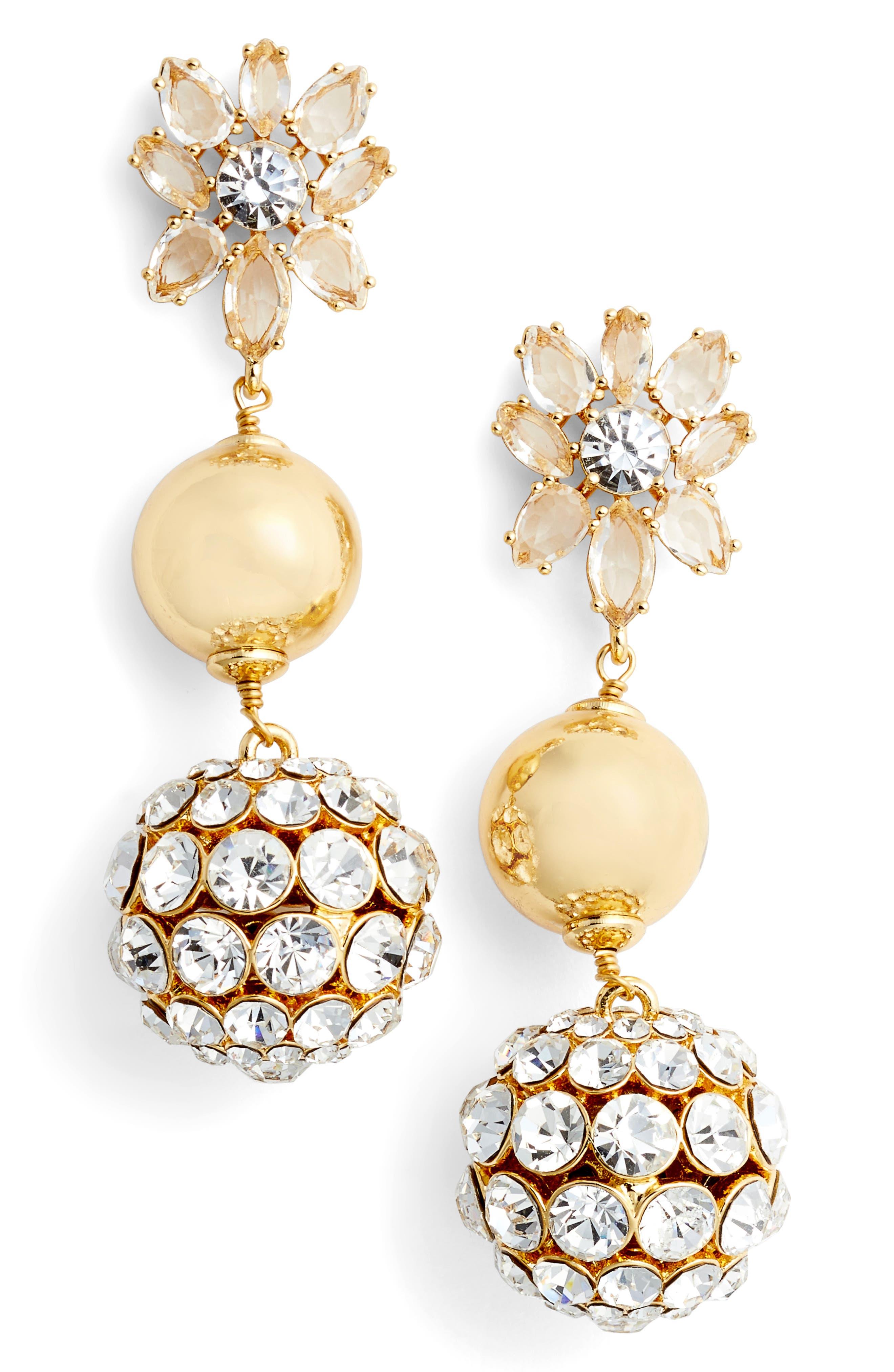 light the room triple drop earrings,                             Main thumbnail 1, color,                             Gold