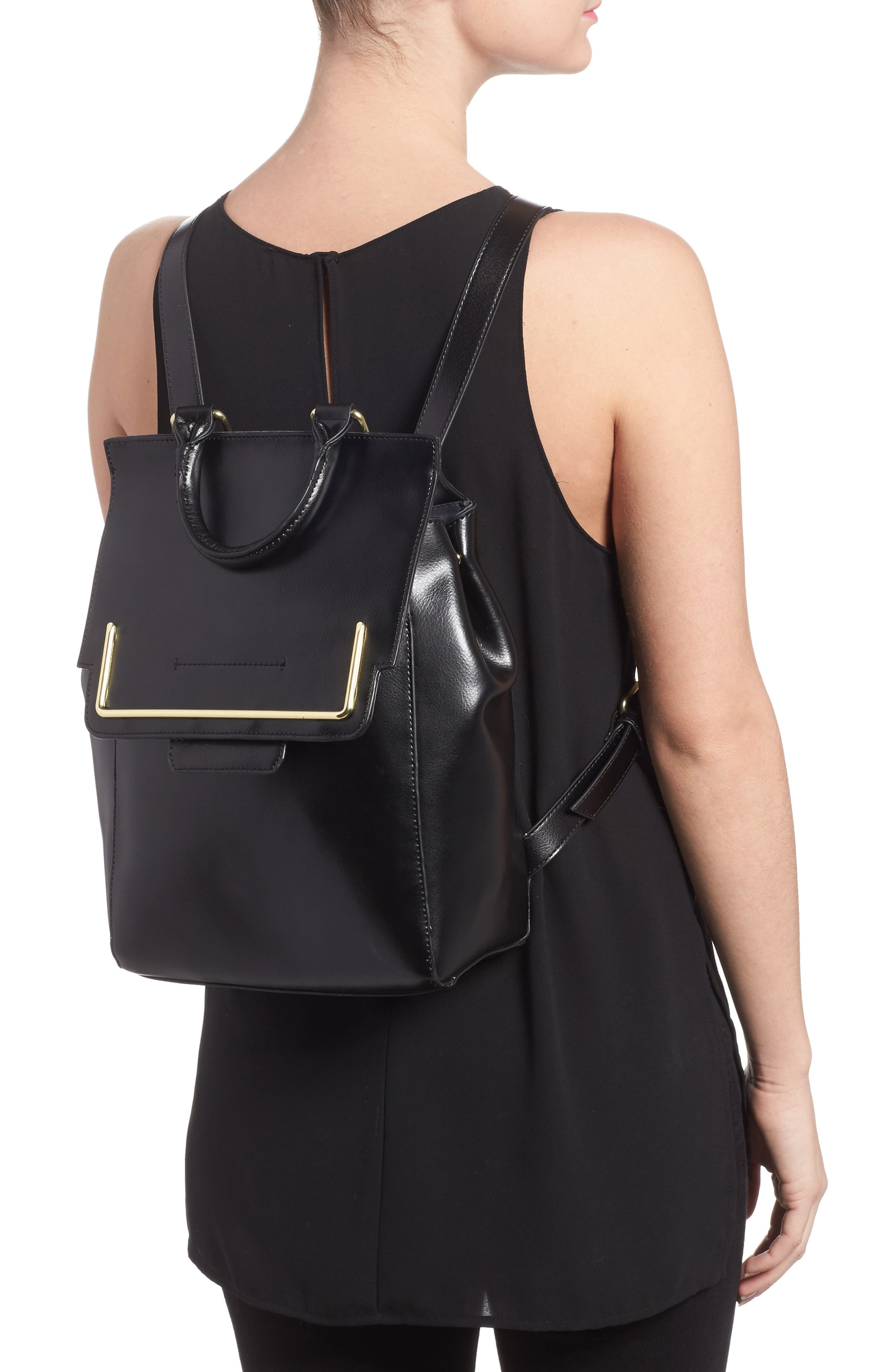 Dylan Leather Backpack,                             Alternate thumbnail 2, color,                             Black