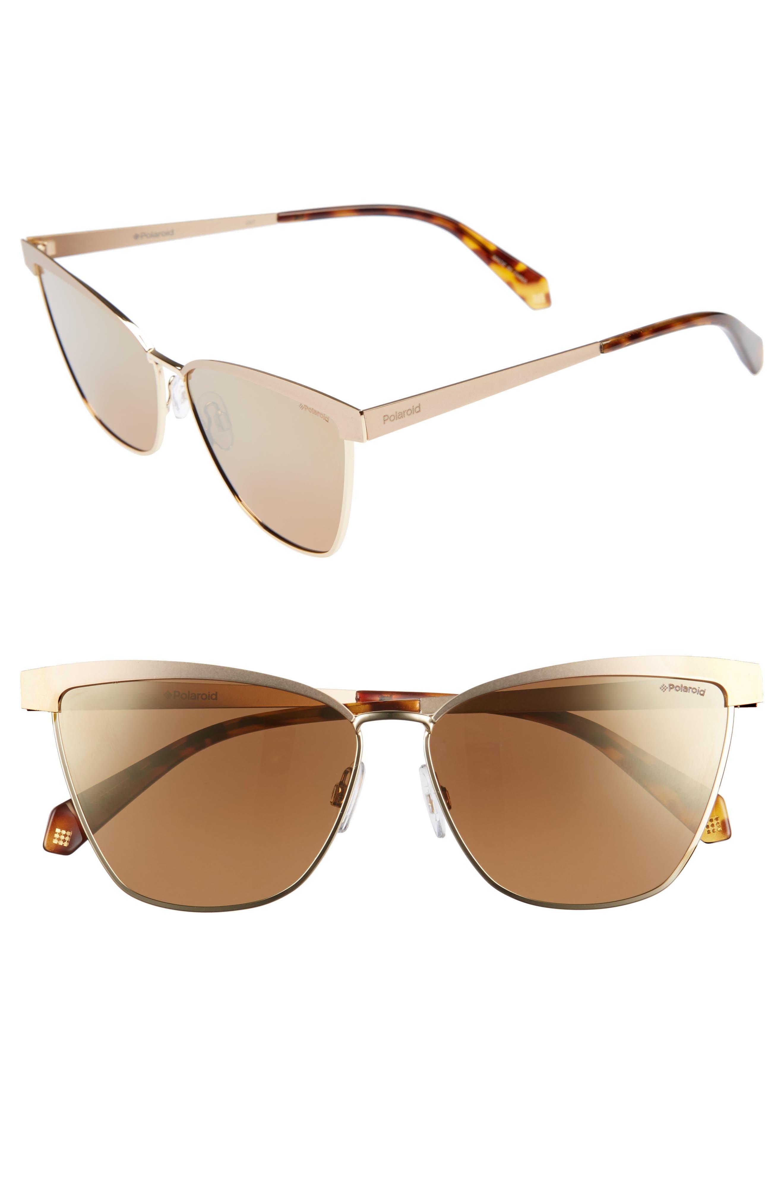60mm Polarized Cat Eye Sunglasses,                             Main thumbnail 1, color,                             Gold