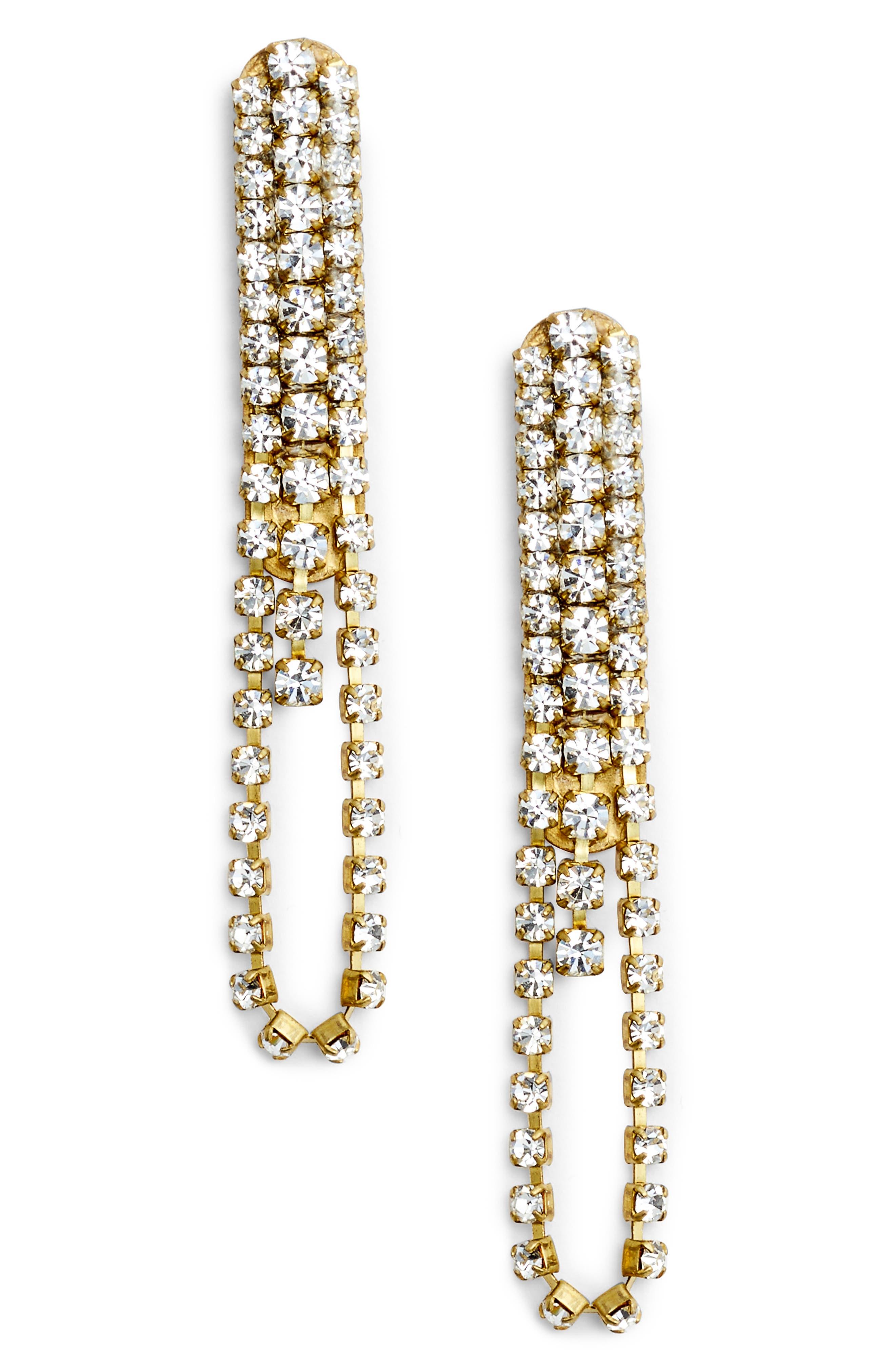 Drape Earrings,                         Main,                         color, Gold/ Crystal