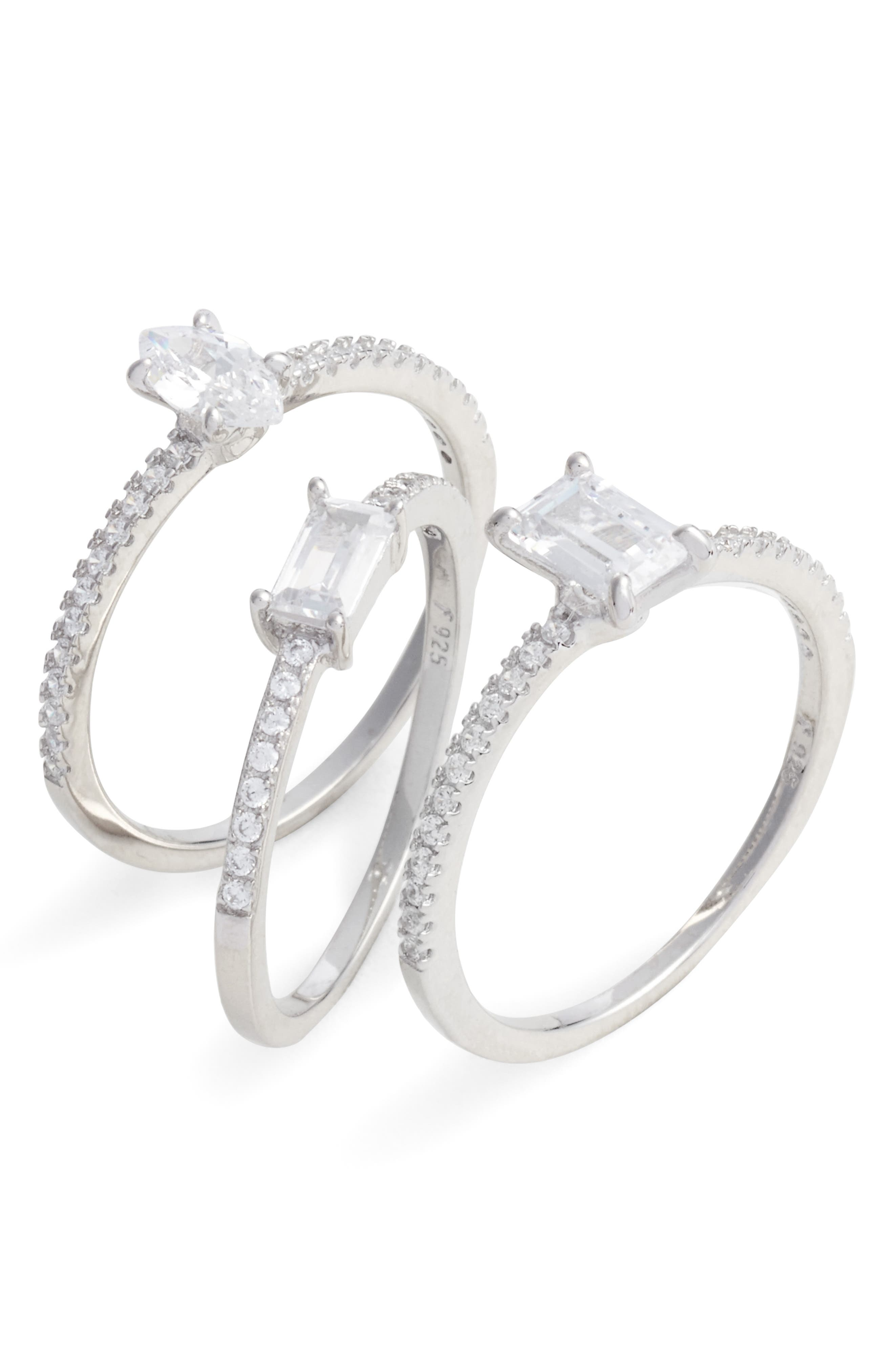 Nordstrom Set of 3 Mix Shape Cubic Zirconia Rings