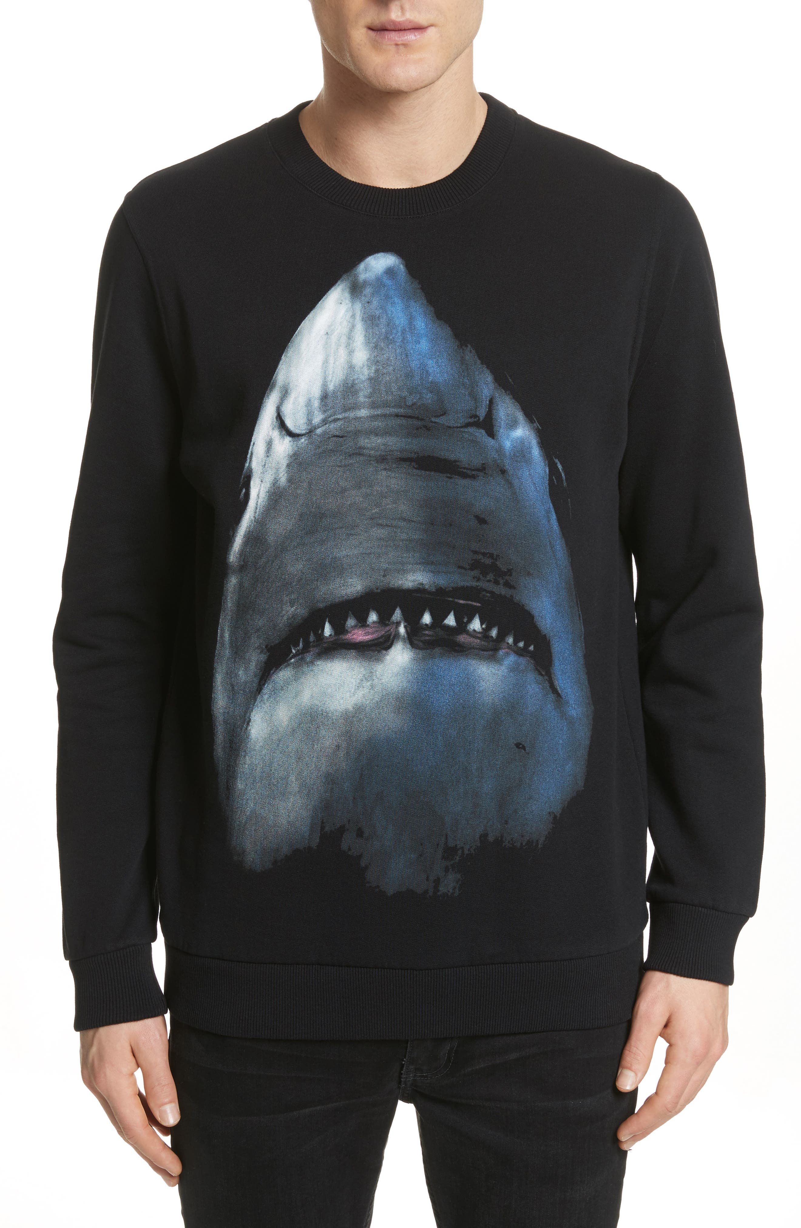 Shark Print Crewneck Sweatshirt,                         Main,                         color, Black