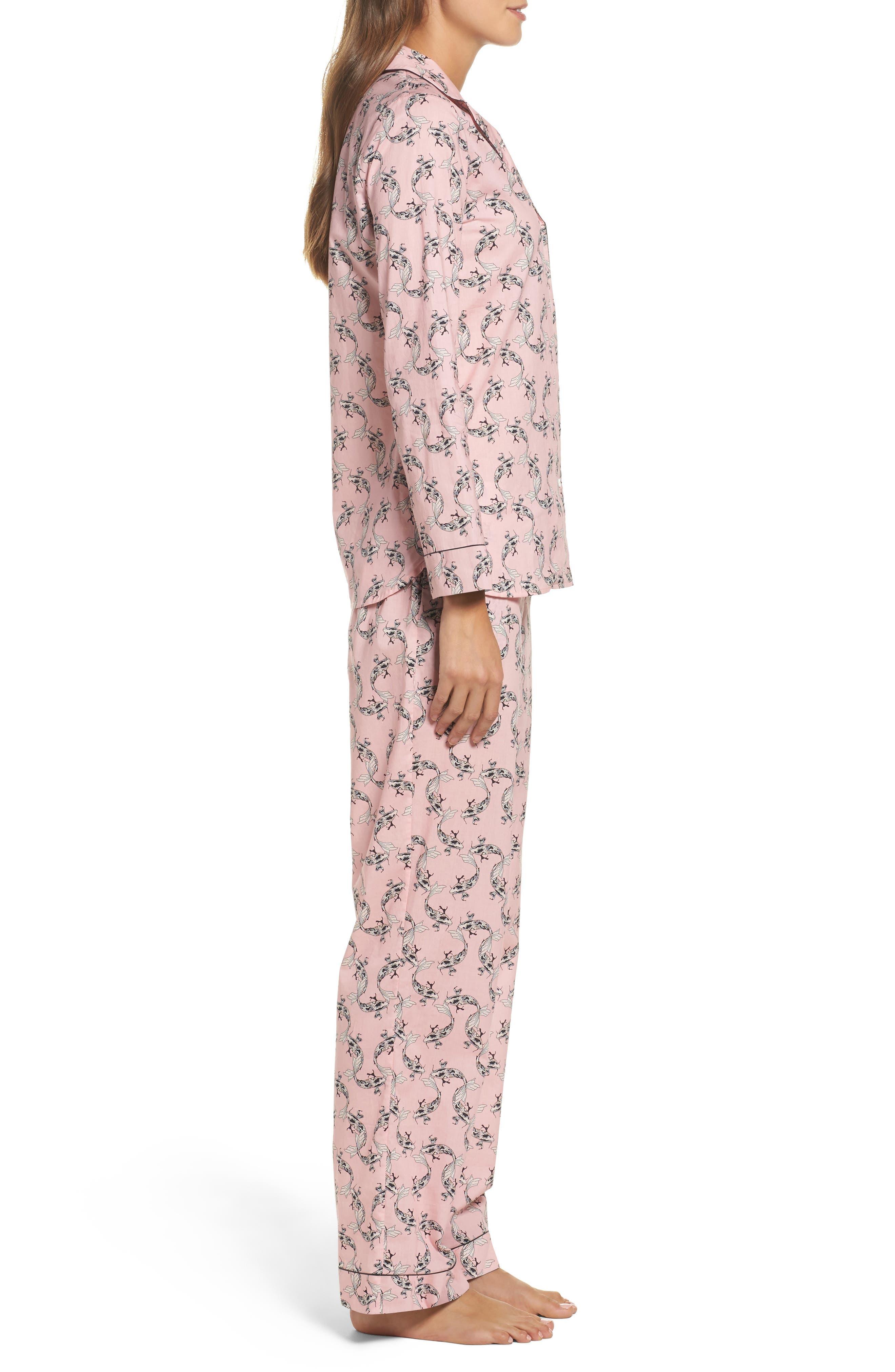 Classic Print Cotton Poplin Pajamas,                             Alternate thumbnail 3, color,                             Fortune Fish- Rose