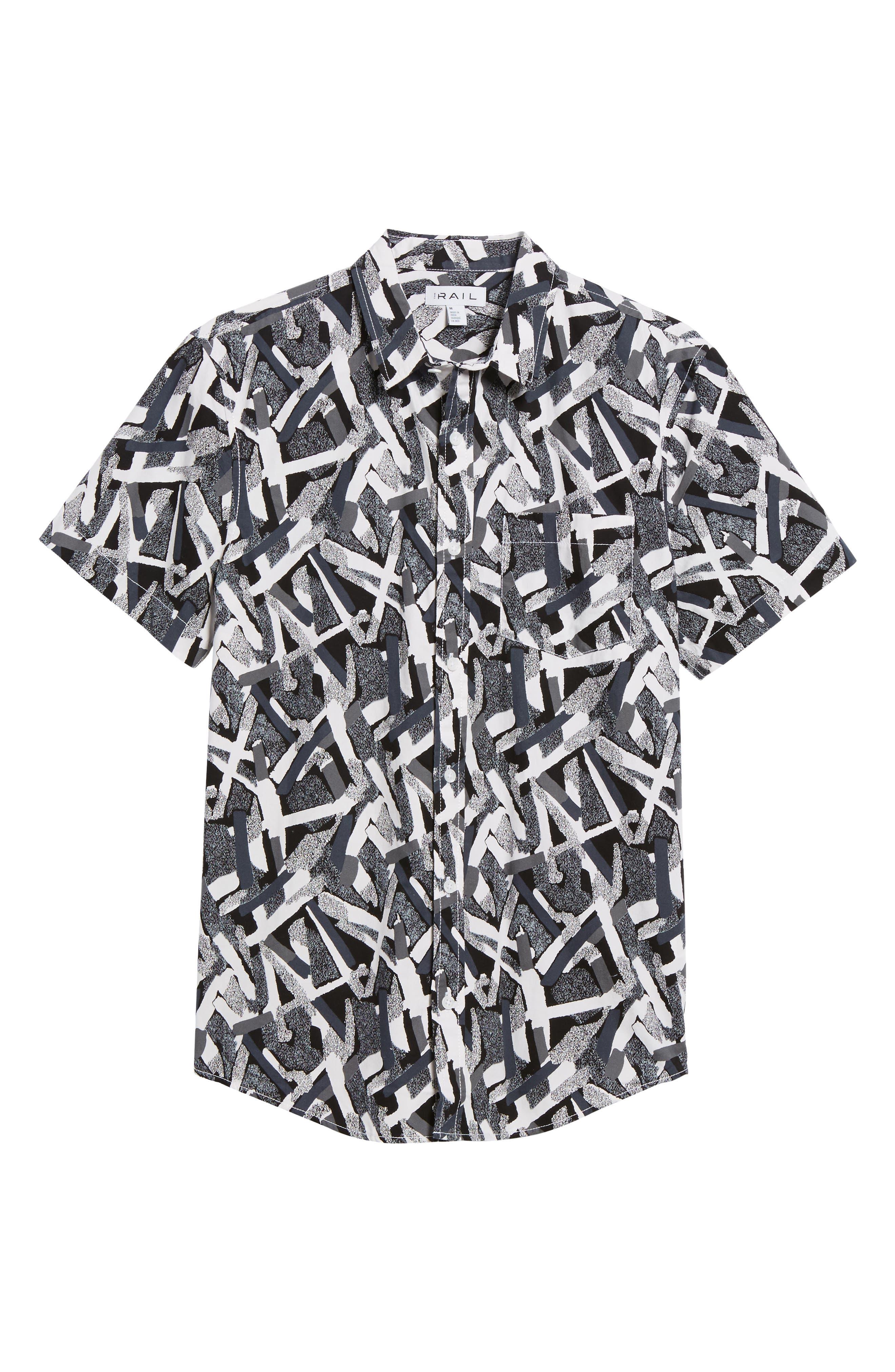 Short Sleeve Print Poplin Shirt,                             Alternate thumbnail 6, color,                             Grey Geo Cross Hatch