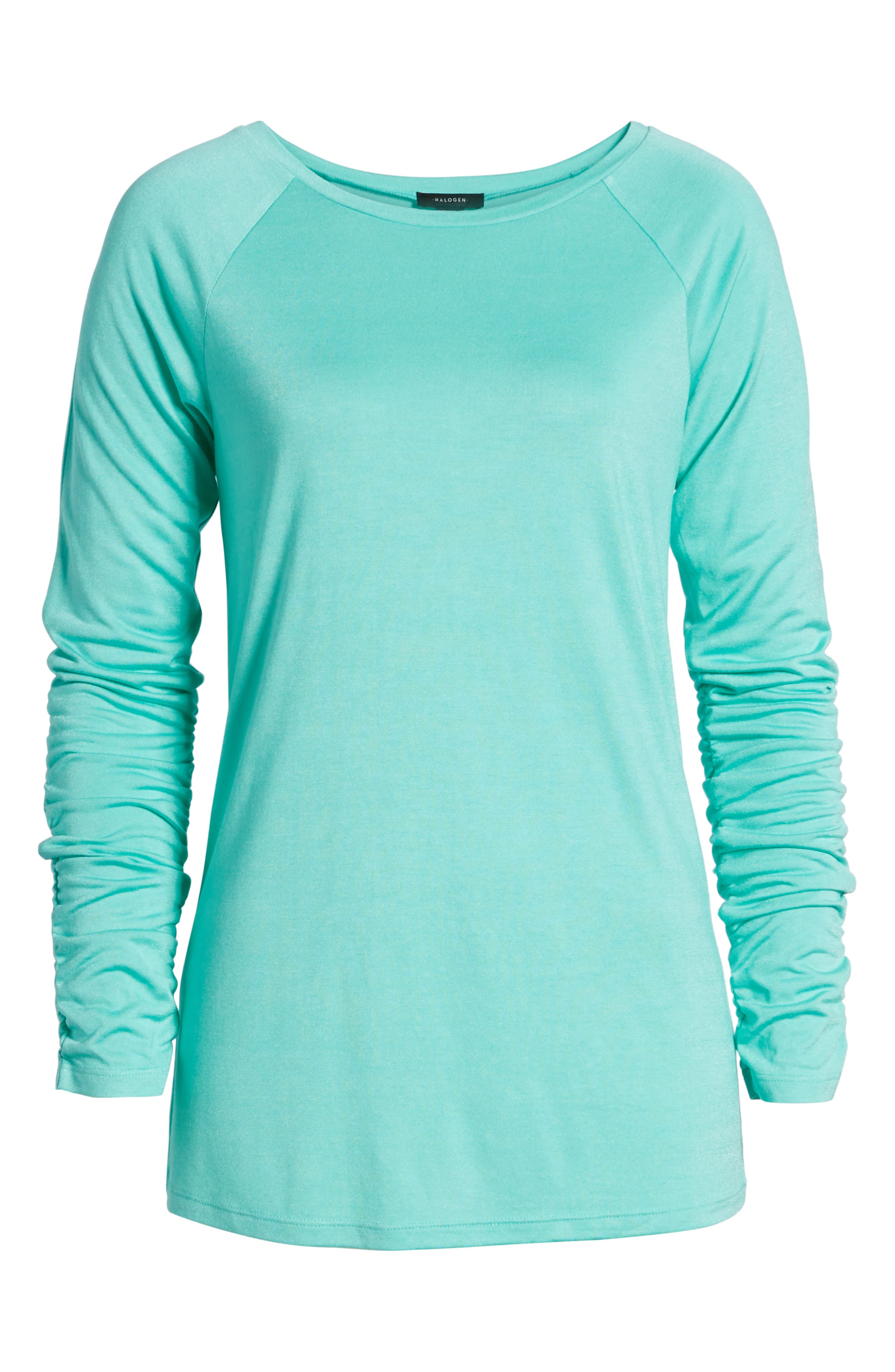 Ruched Sleeve Tee,                             Alternate thumbnail 6, color,                             Green Largo