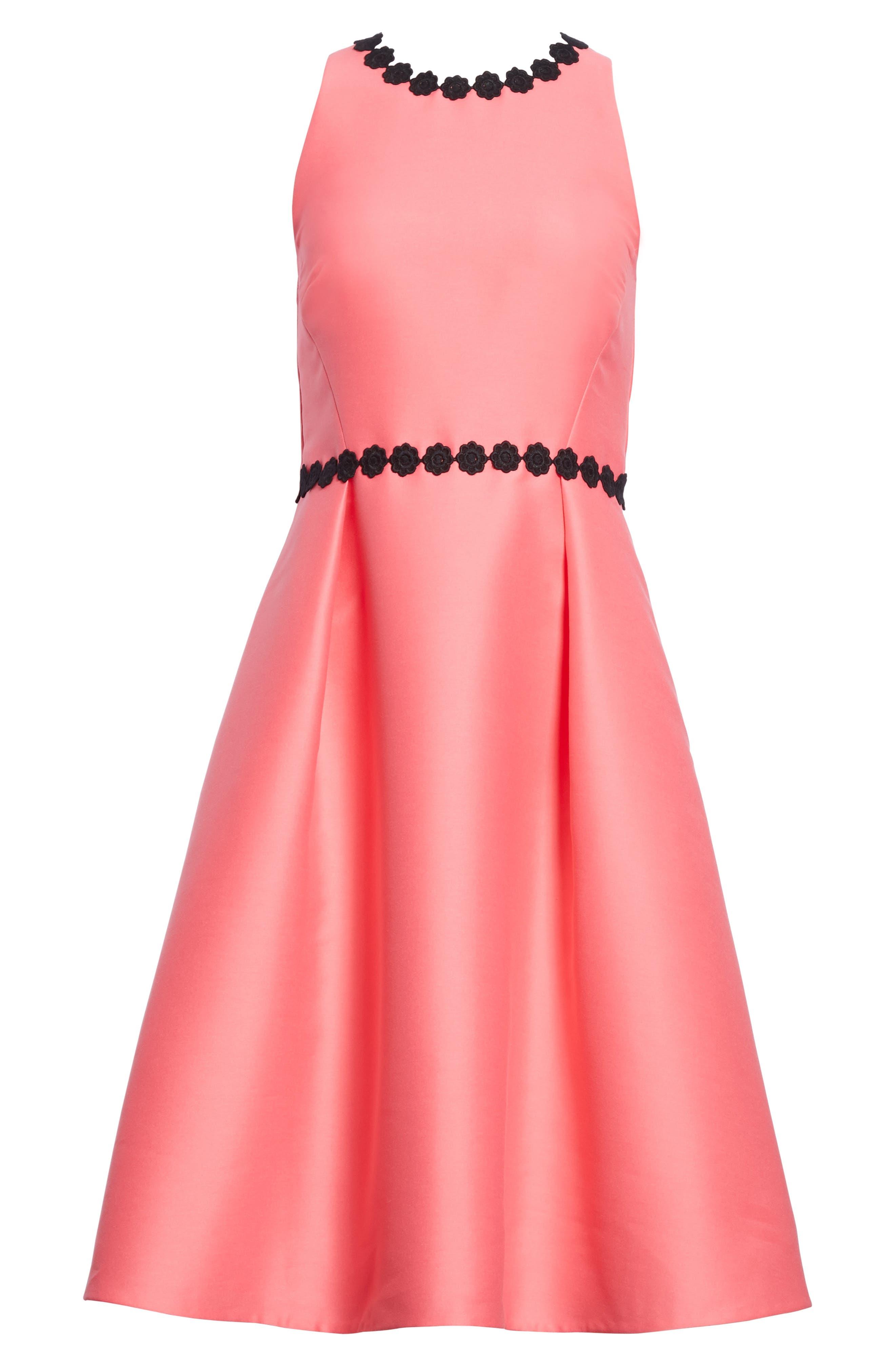 floral lace trim mikado fit & flare dress,                             Alternate thumbnail 6, color,                             Petunia