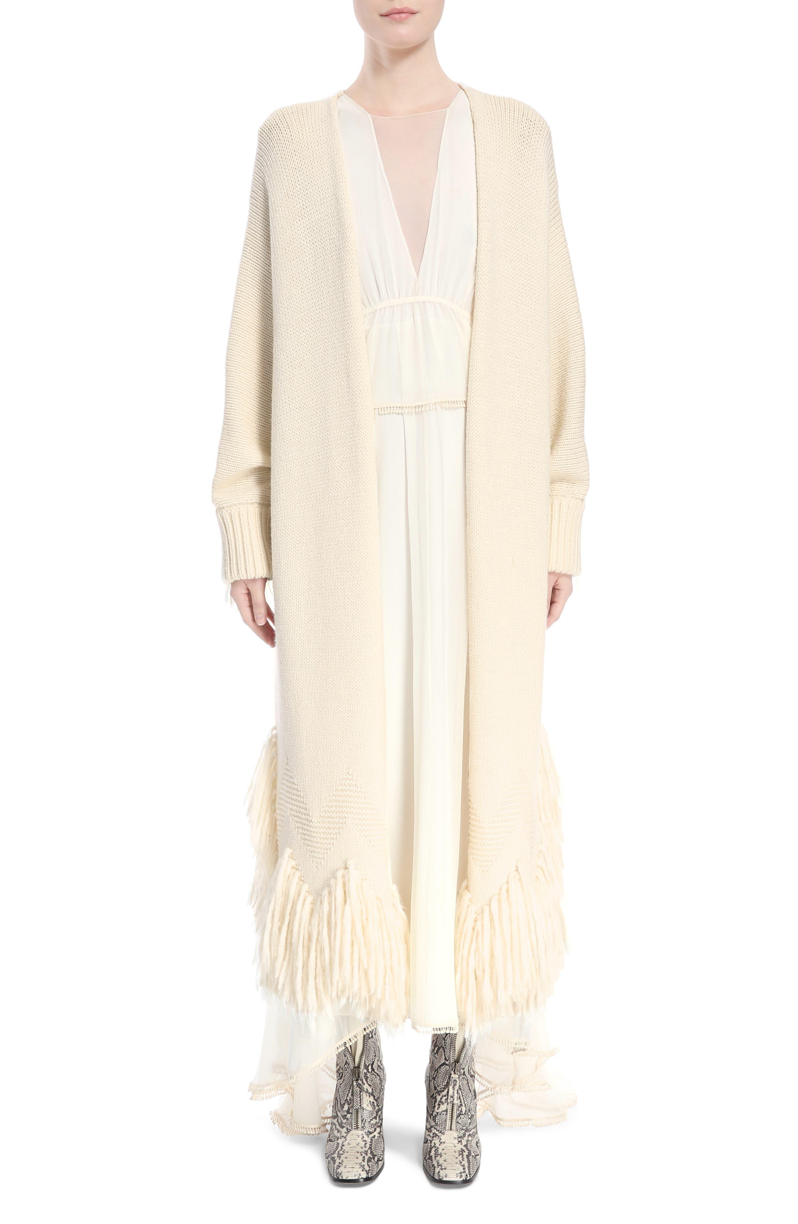 Chloé Shaggy Fringe Wool Cardigan