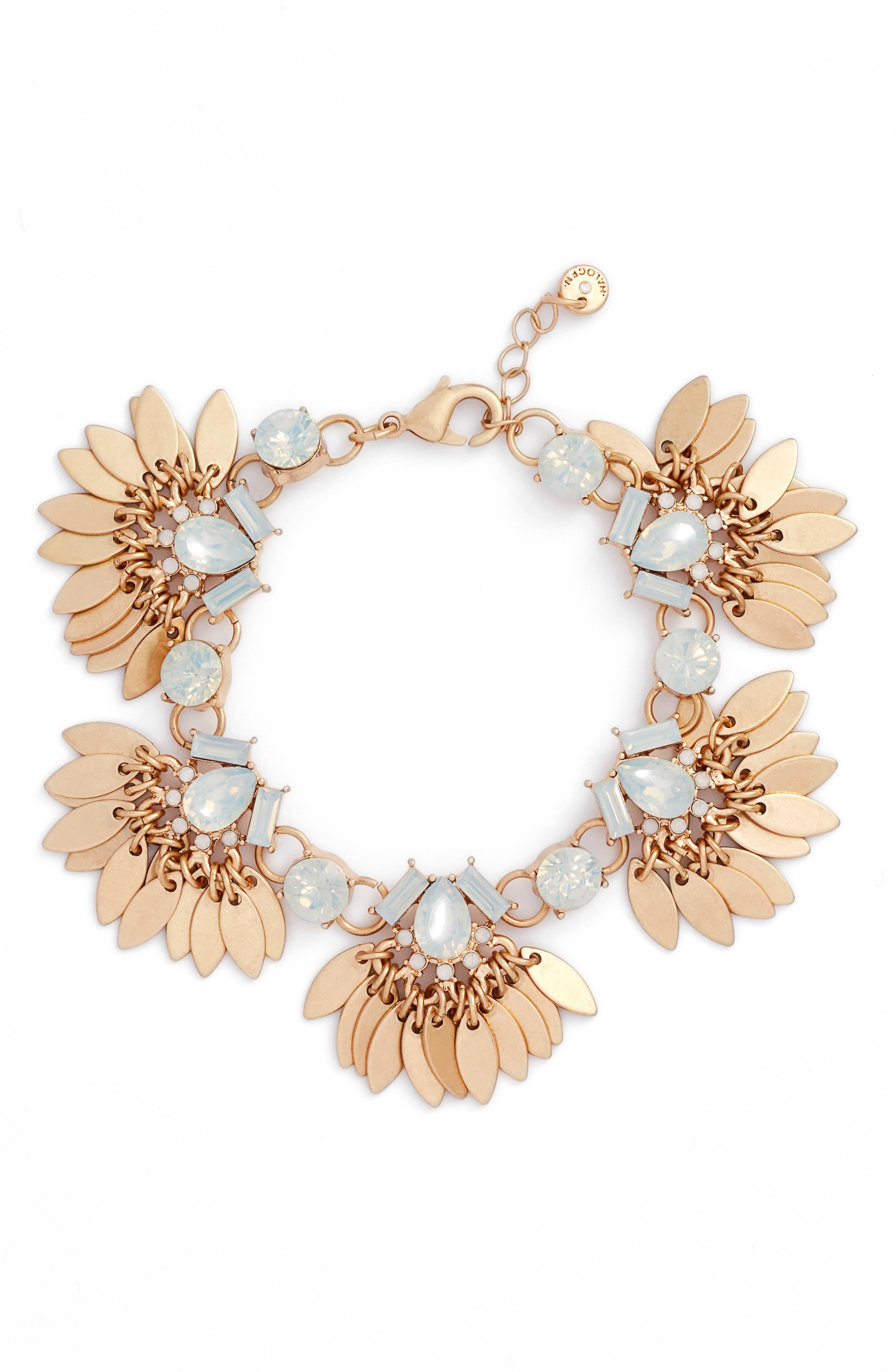 Tassel Leaf Bracelet,                         Main,                         color, White Opal- Gold