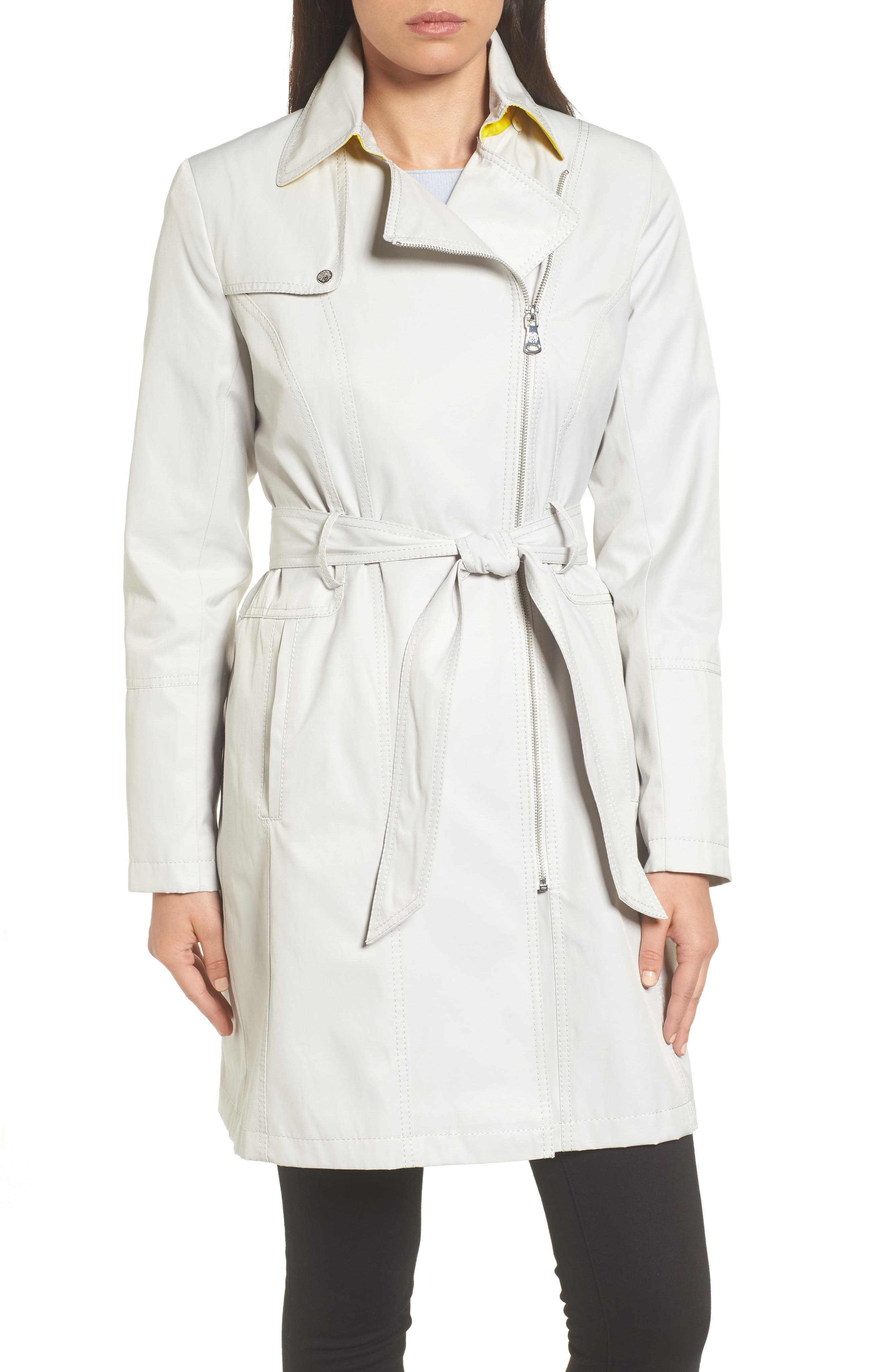 Belted Asymmetrical Trench Coat,                             Alternate thumbnail 4, color,                             Feather