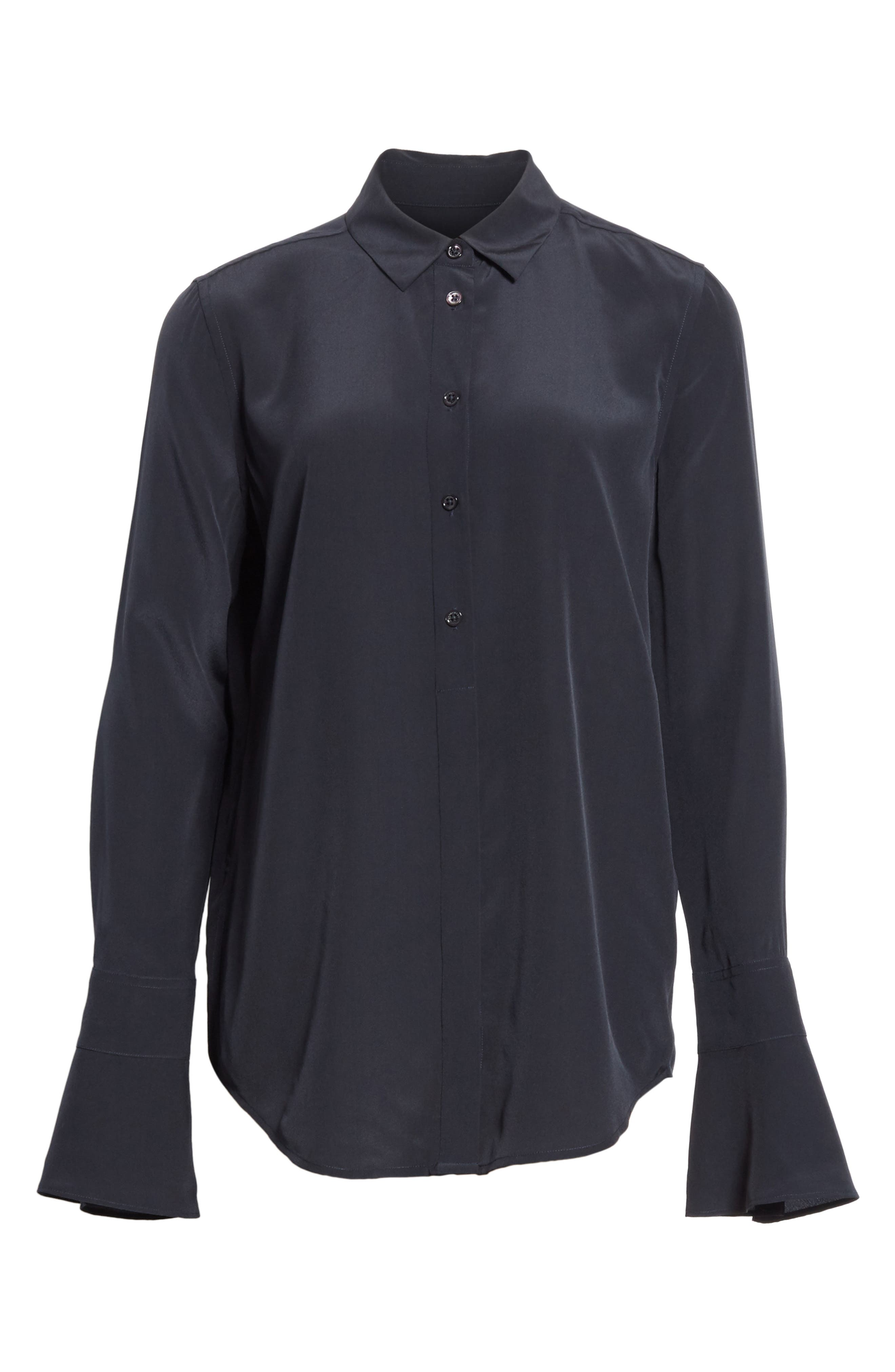 Daphine Bell Cuff Silk Shirt,                             Alternate thumbnail 6, color,                             Eclipse