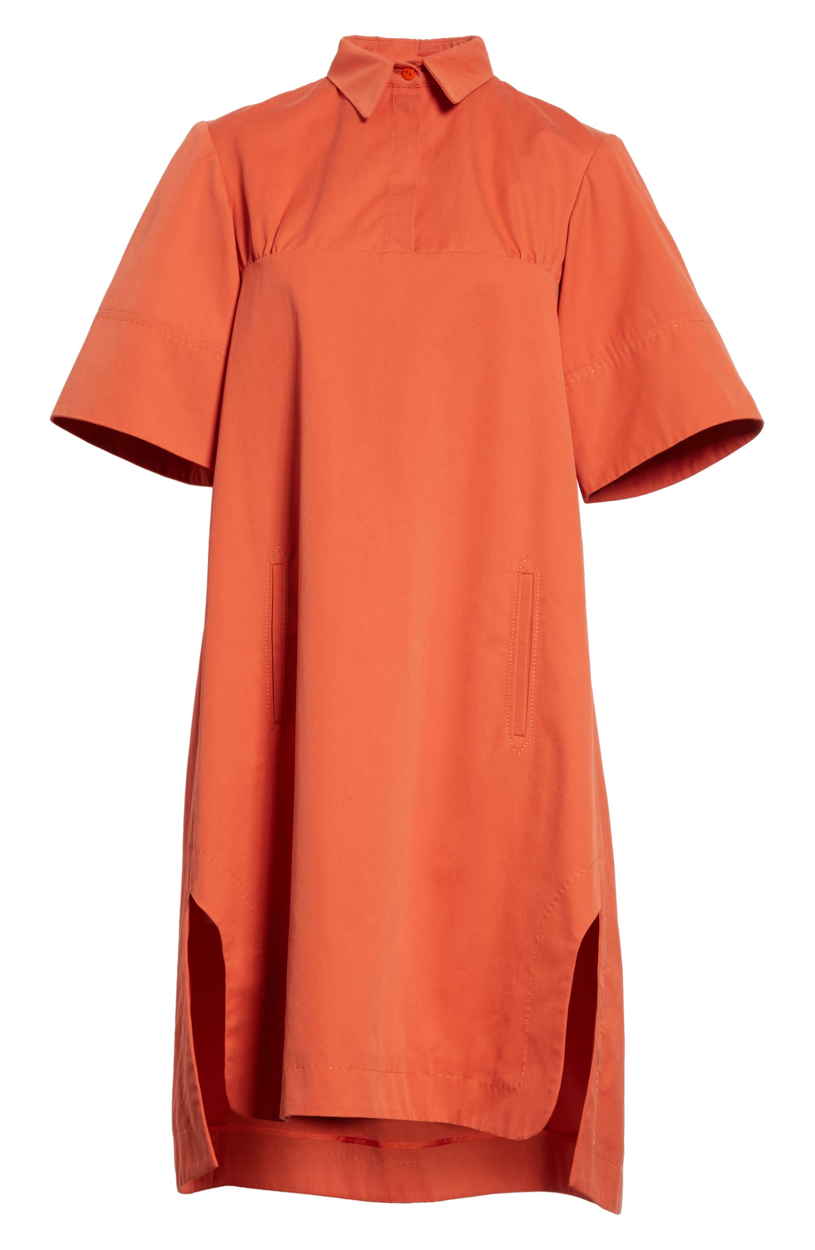 Cotton Poplin Shirtdress,                             Alternate thumbnail 6, color,                             Rust