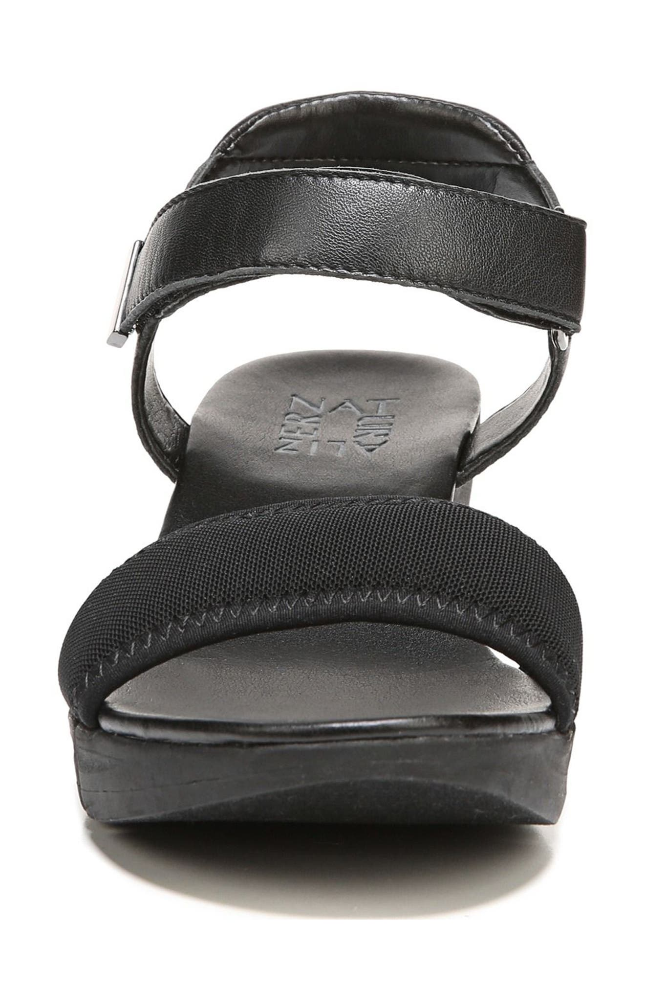 Irena Wedge Sandal,                             Alternate thumbnail 5, color,                             Black Leather