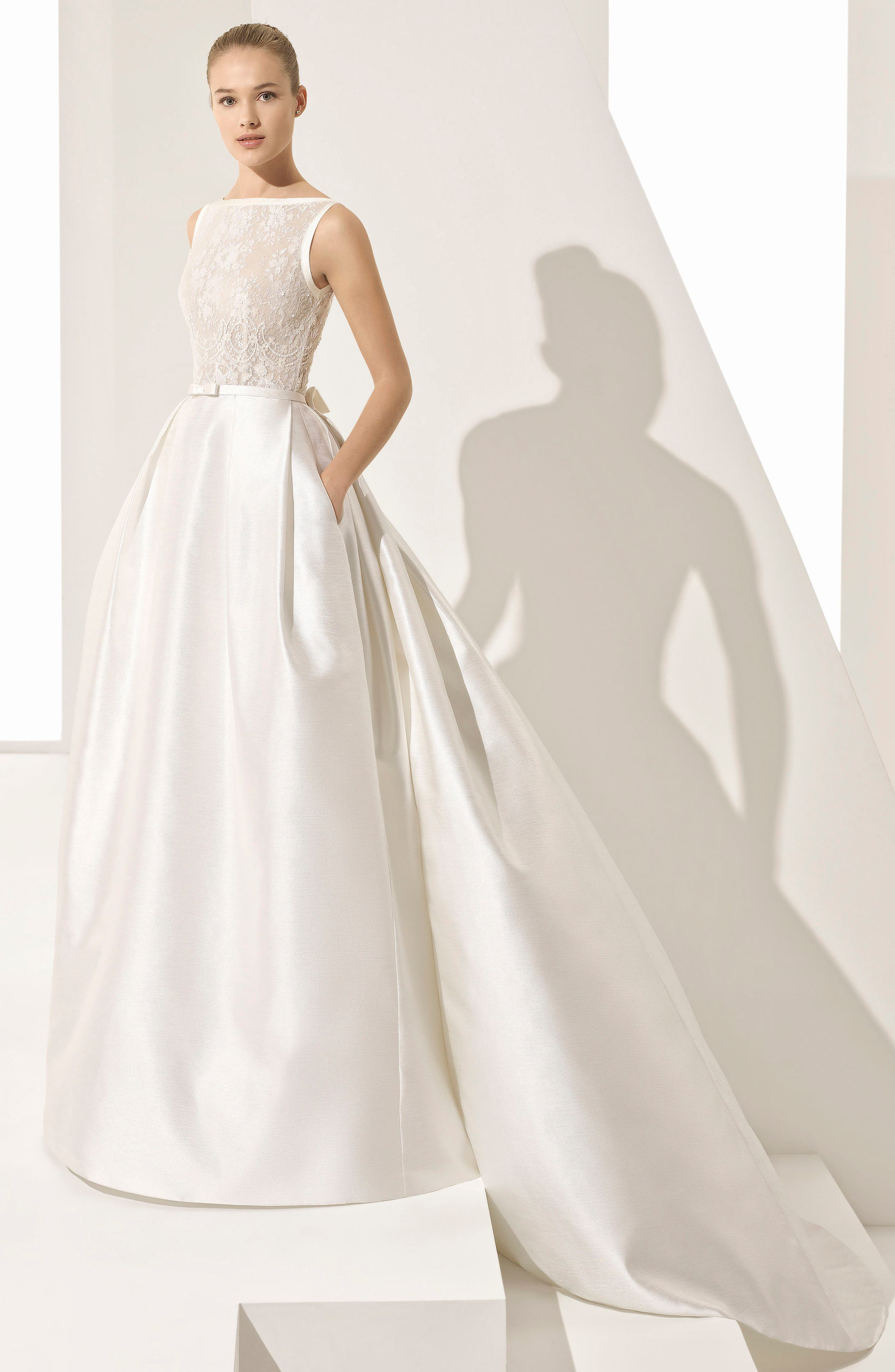 Parker Silk Blend Ballgown,                             Alternate thumbnail 3, color,                             Natural/ Nude