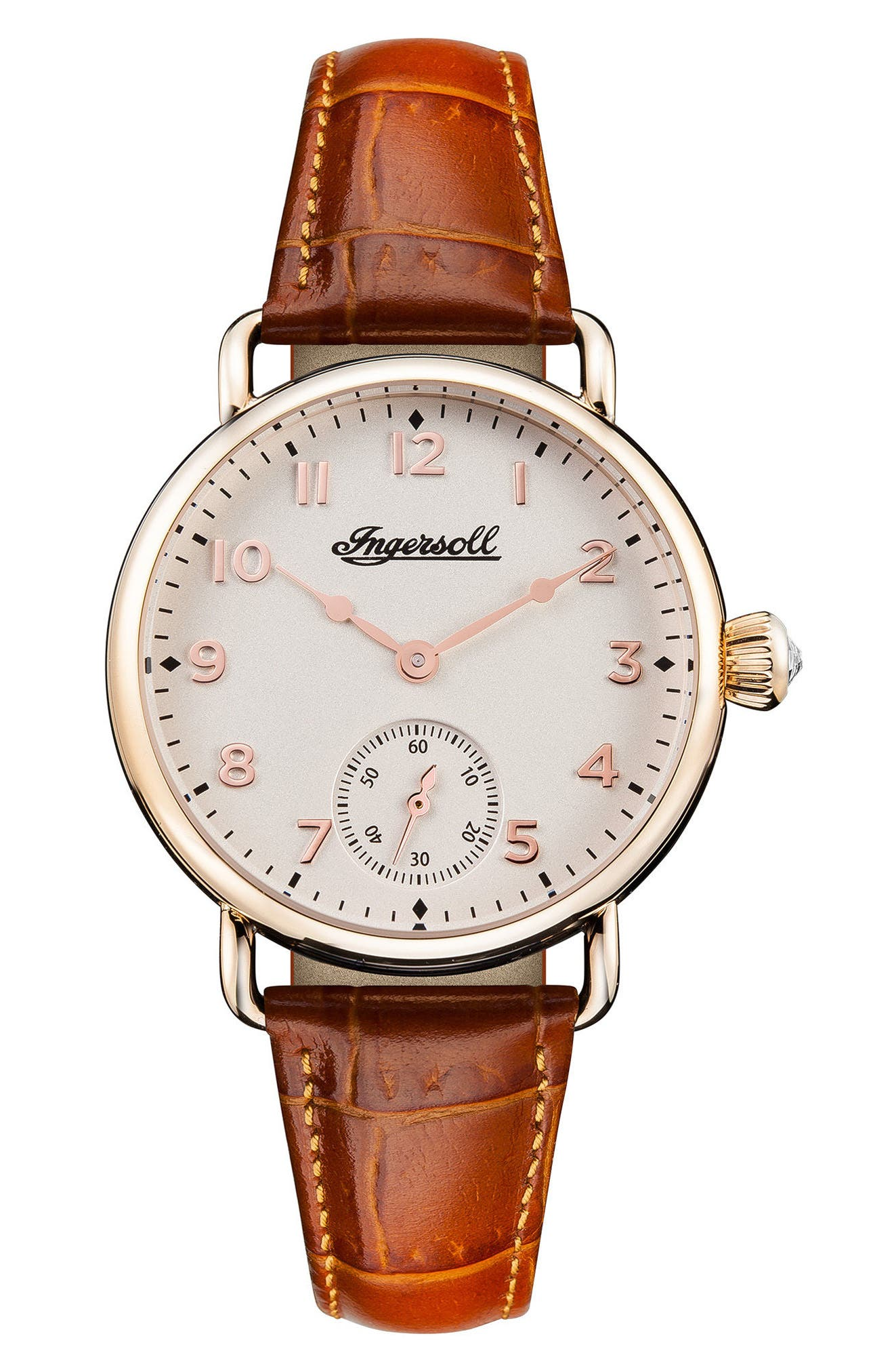 Ingersoll Trenton Leather Strap Watch, 34mm,                             Main thumbnail 1, color,                             Brown/ White/ Rose Gold