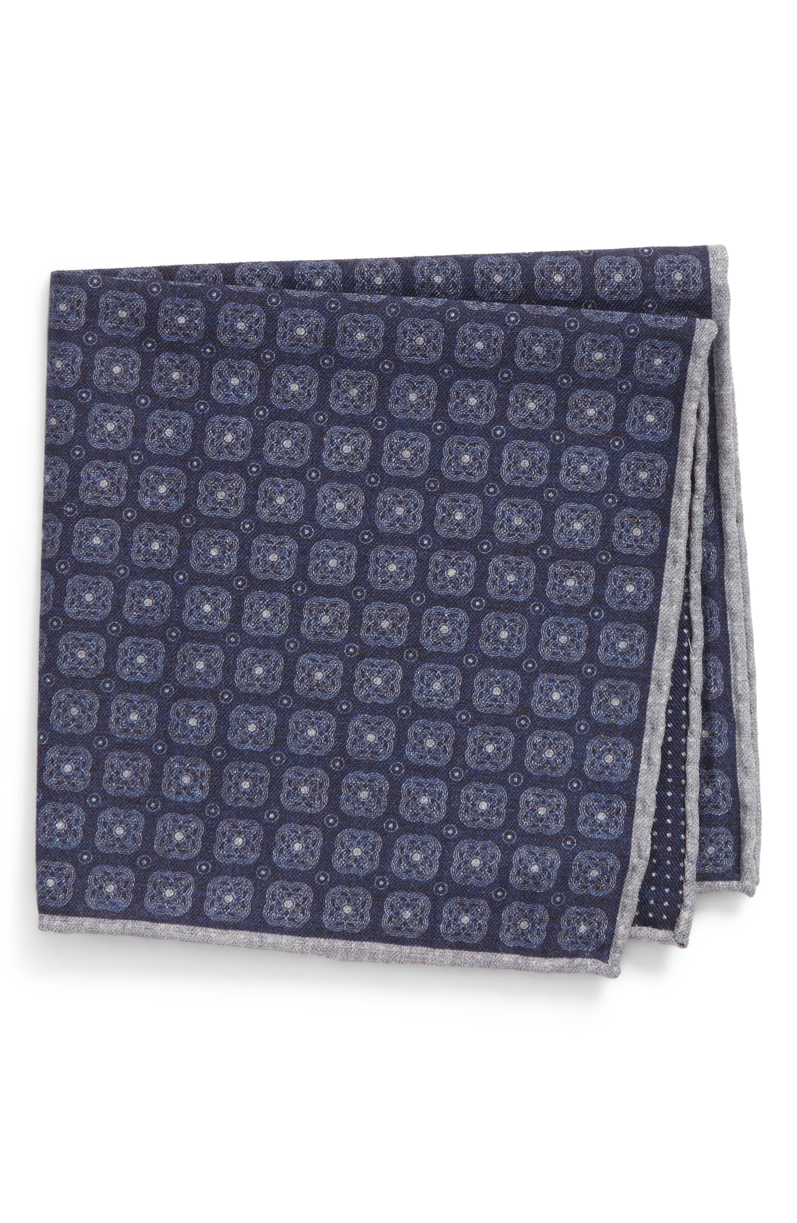 Alternate Image 1 Selected - Eleventy Medallion Wool & Cotton Pocket Square