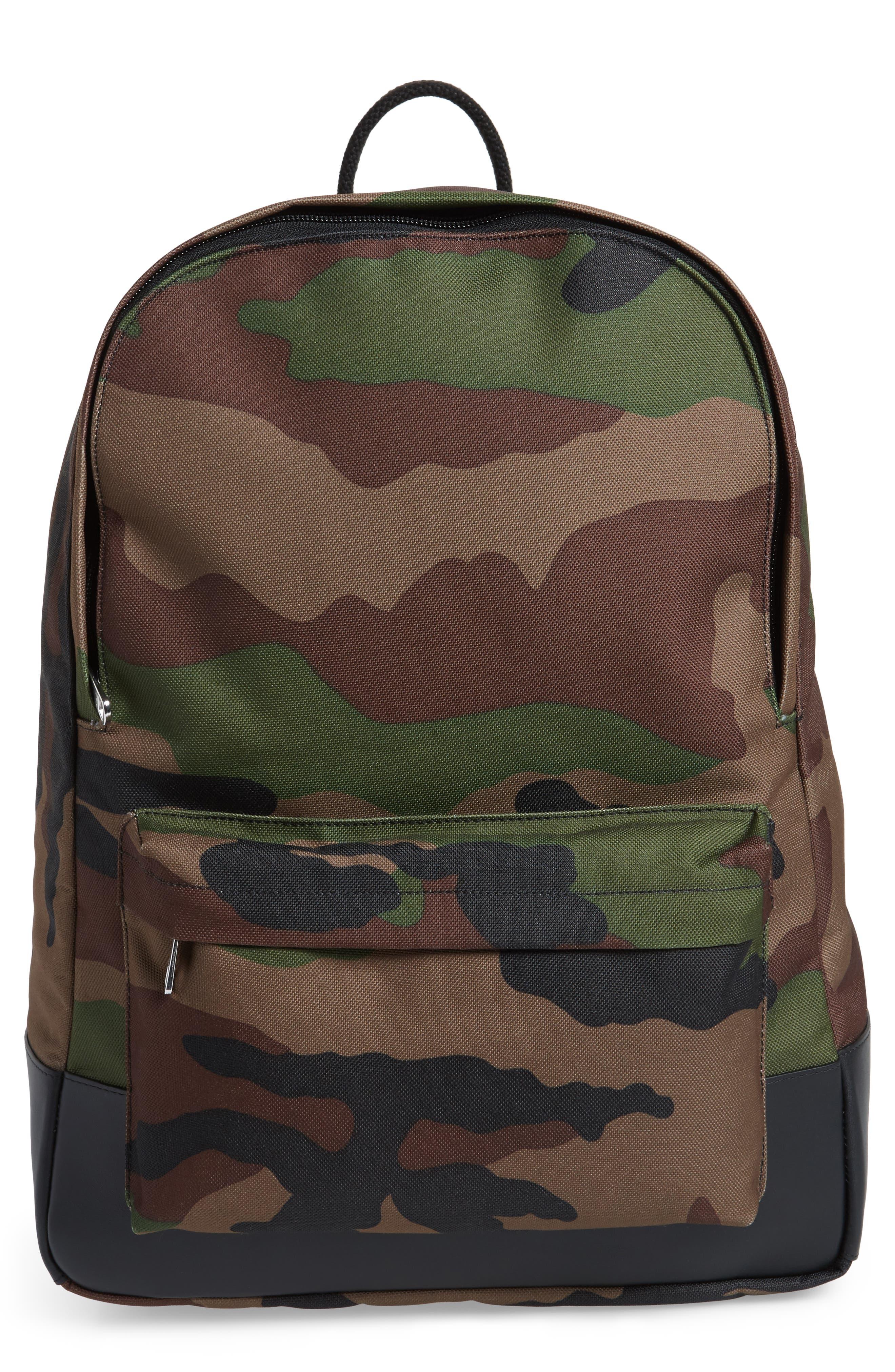 Mickael Camo Print Backpack,                         Main,                         color, Kaki Militaire Jac