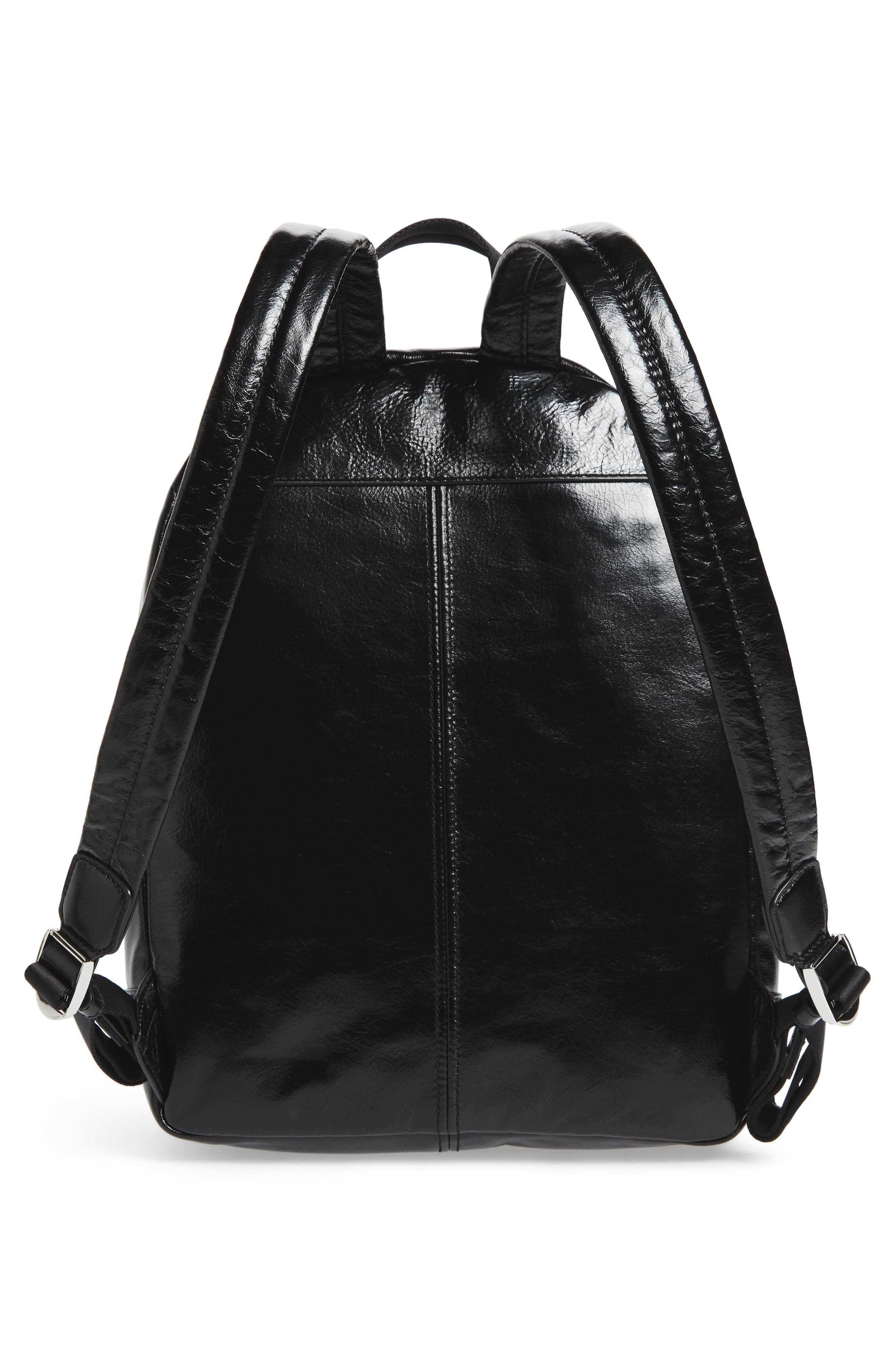 Double Pack Leather Backpack,                             Alternate thumbnail 3, color,                             Black