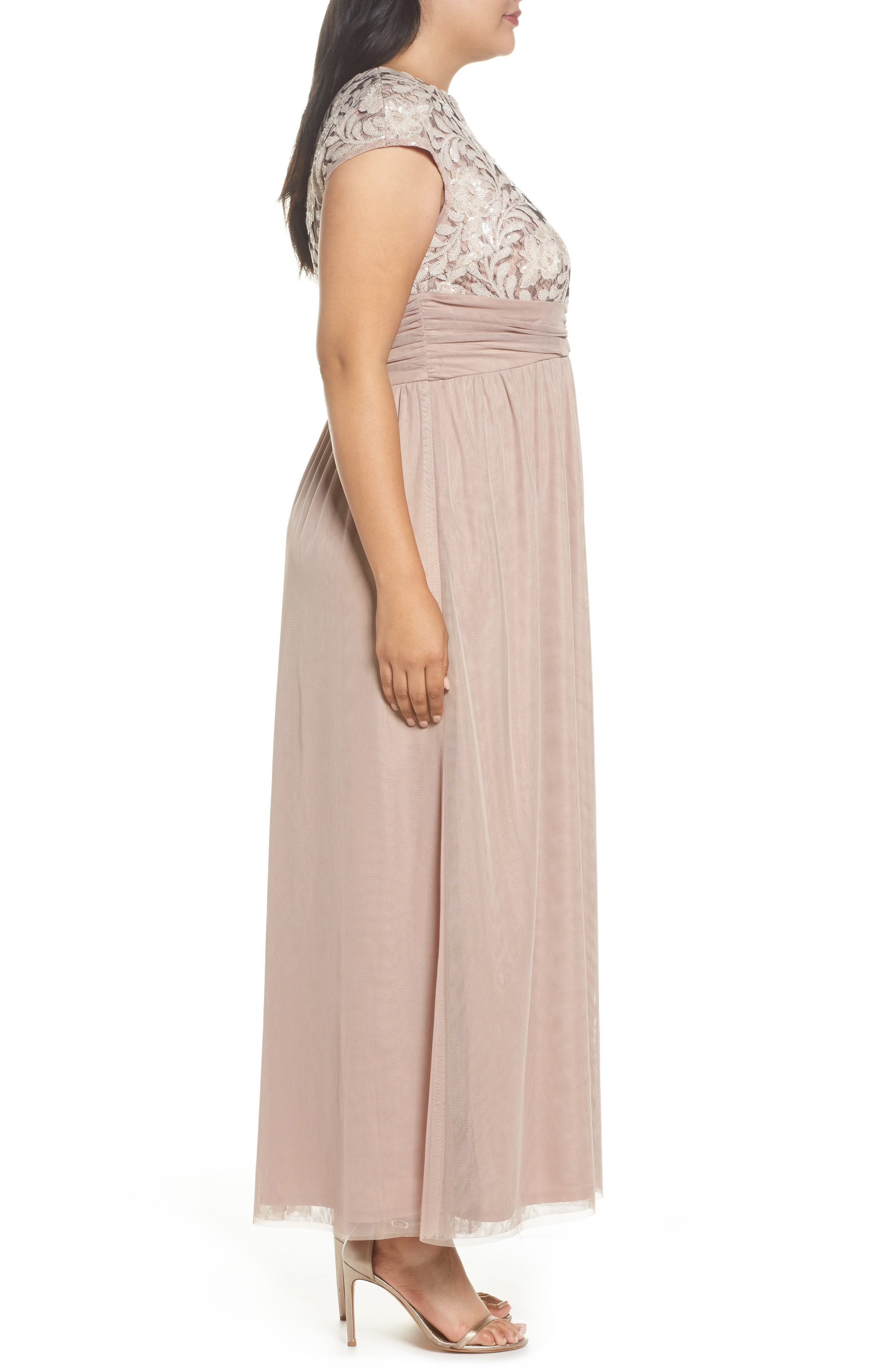 Embellished Cap Sleeve Gown,                             Alternate thumbnail 3, color,                             Champagne