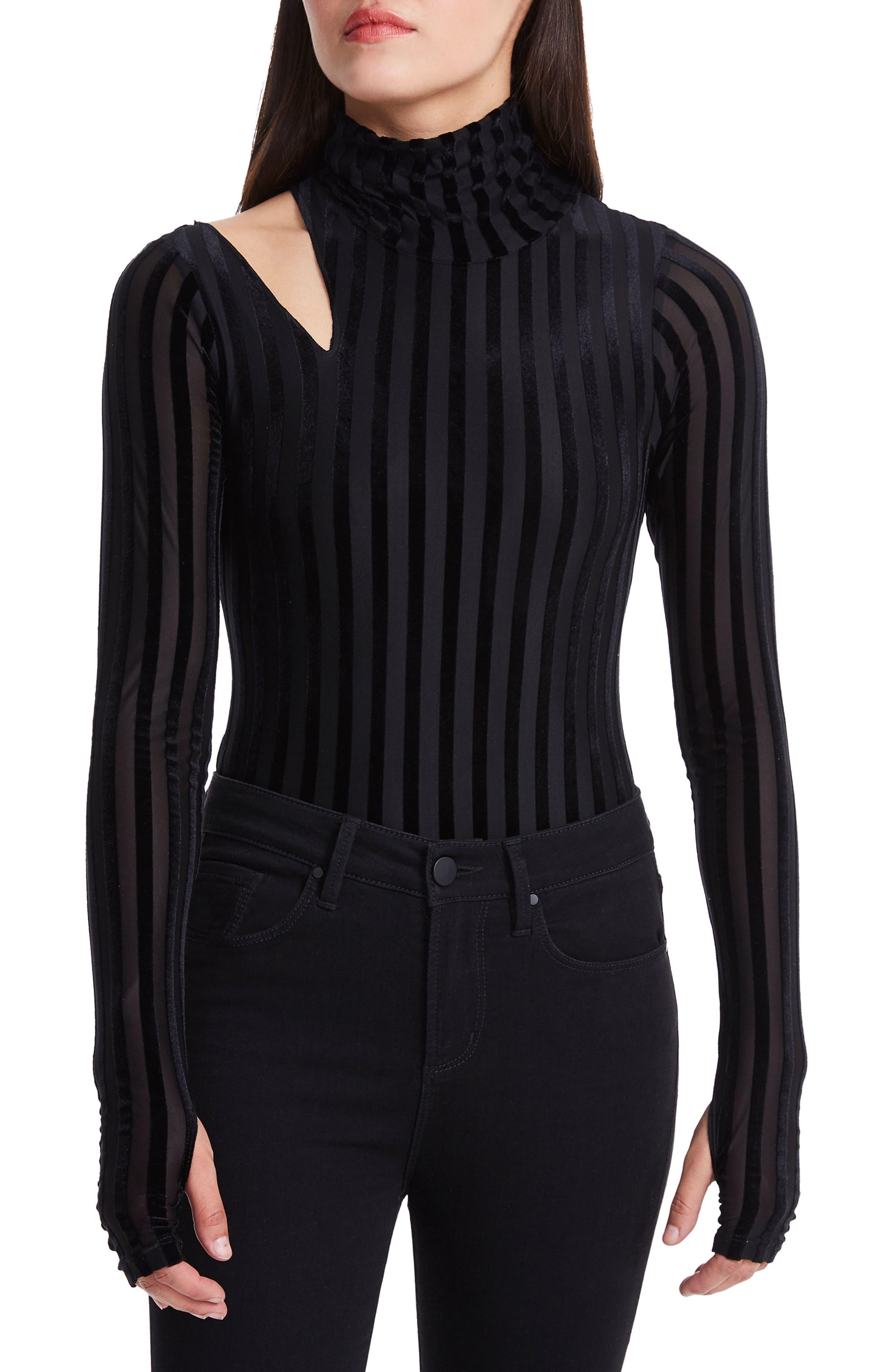 Como Cutout Thong Bodysuit,                         Main,                         color, Stripe Velvet