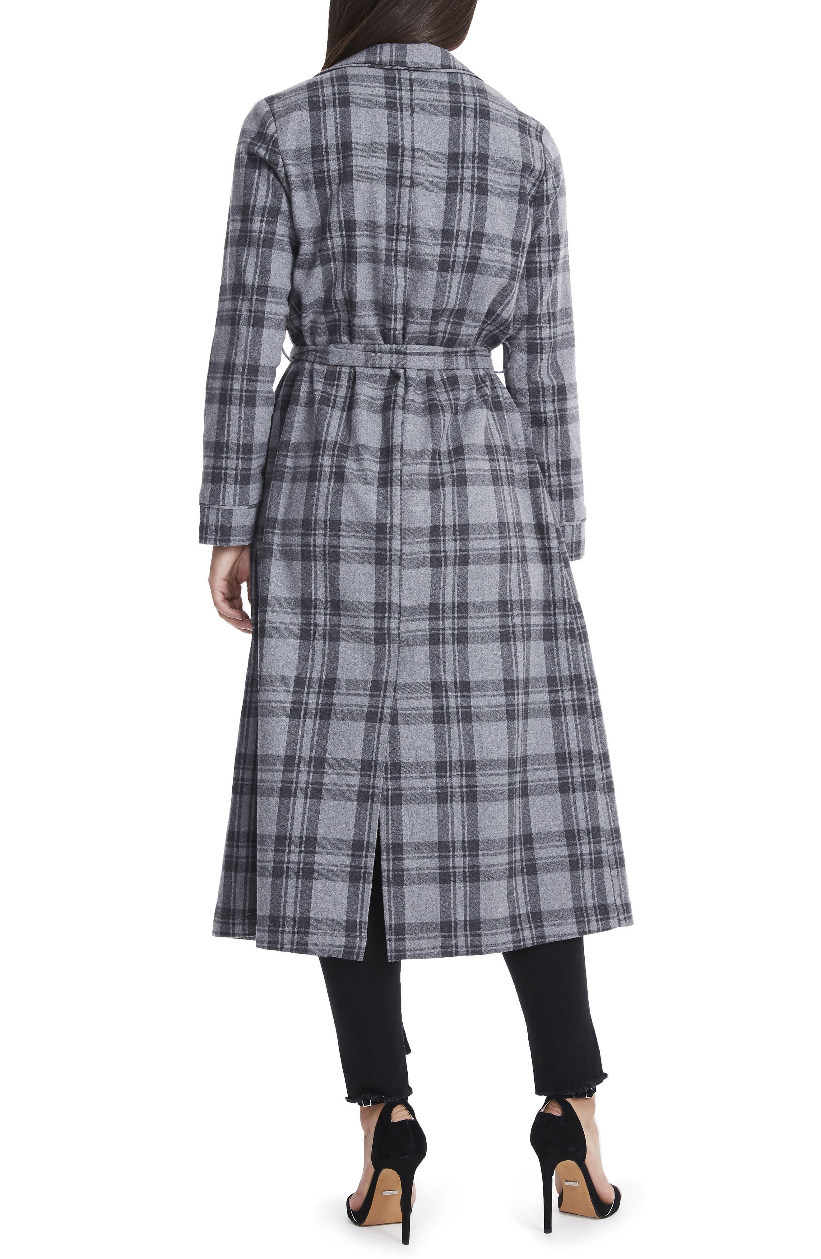 Sol Flannel Wrap Coat,                             Alternate thumbnail 2, color,                             Grey Plaid